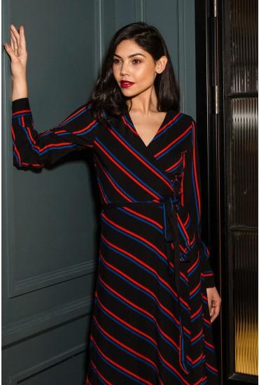 Zoe Long Sleeve Wrap Dress in Black Stripe