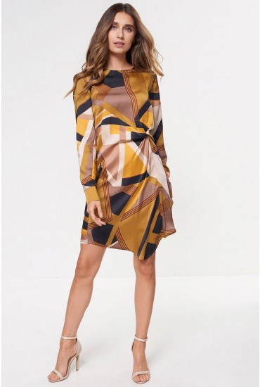 Zoe Twist Printed Dress in Mustard