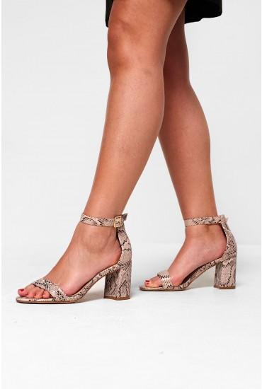 Zoey Block Heel Sandals in Snakeskin