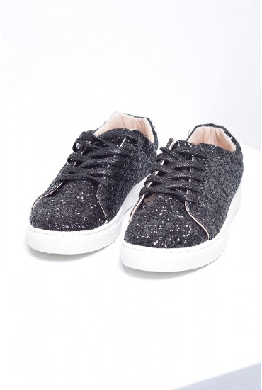 Jollie Glitter Lace Up Runners in Black