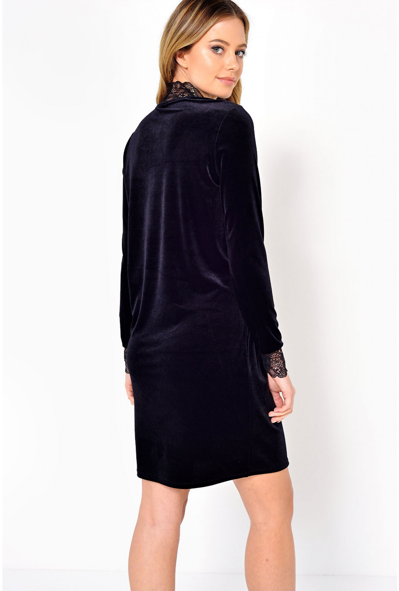 d76bb46dc5bf Vero Moda Viola Lace Velvet Dress in Black