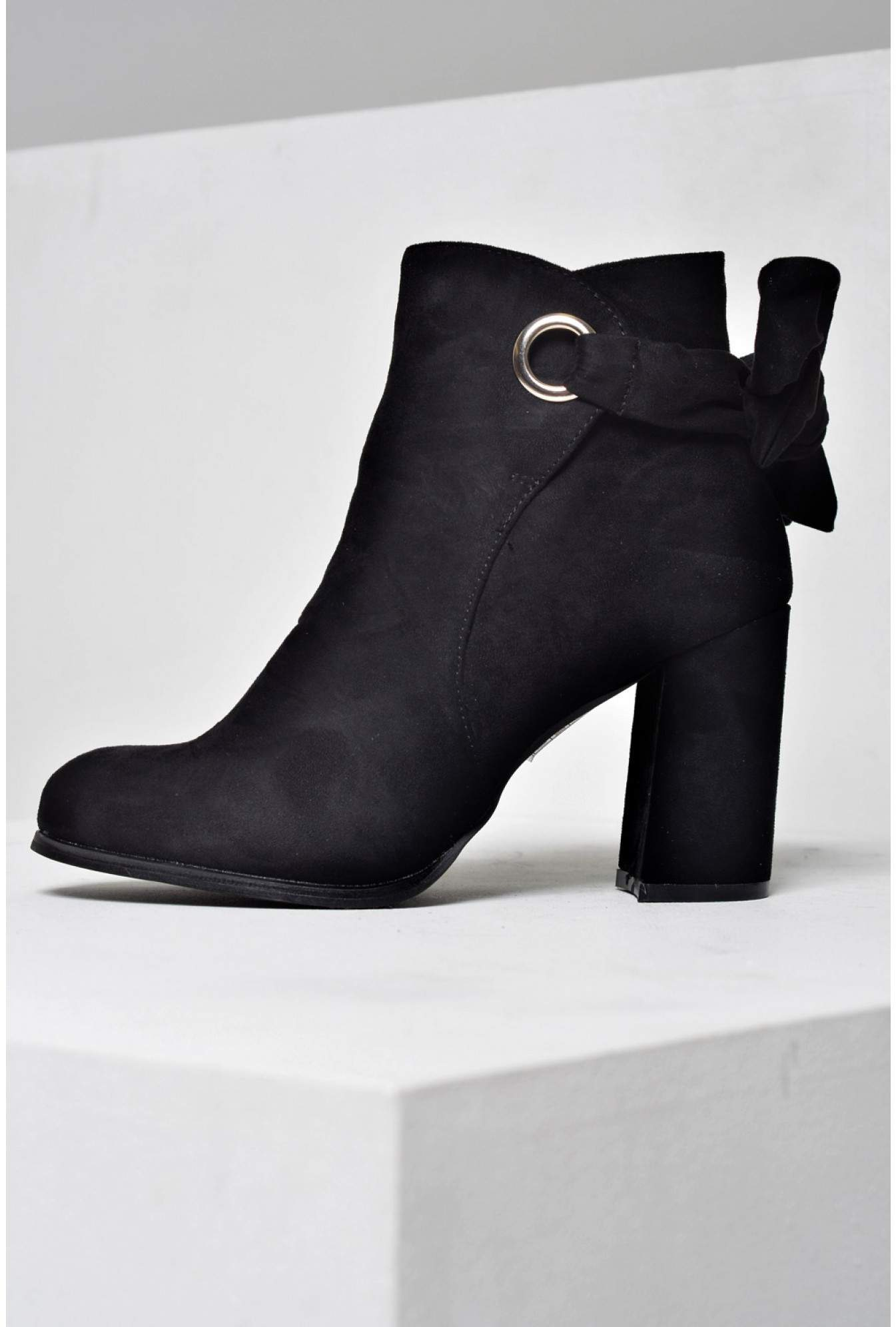7ca643f9022 Hannah Back Bow Ankle Boots in Suede Black