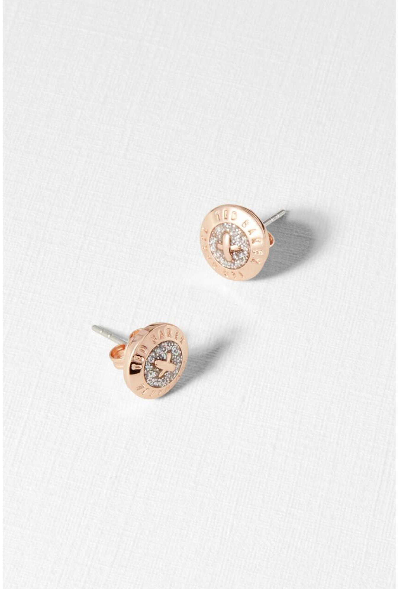 Ted Baker Ted Baker Round Stud Earrings In Rose Gold Iclothing
