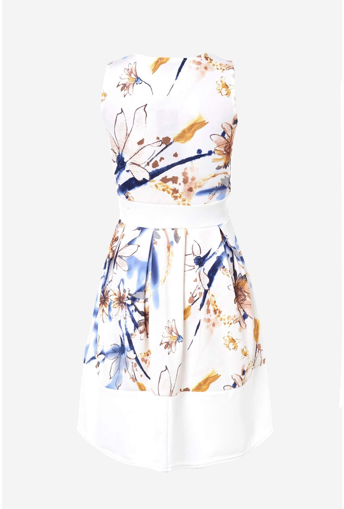 More Views. Sadie Floral Skater Dress in White bf6b40f44