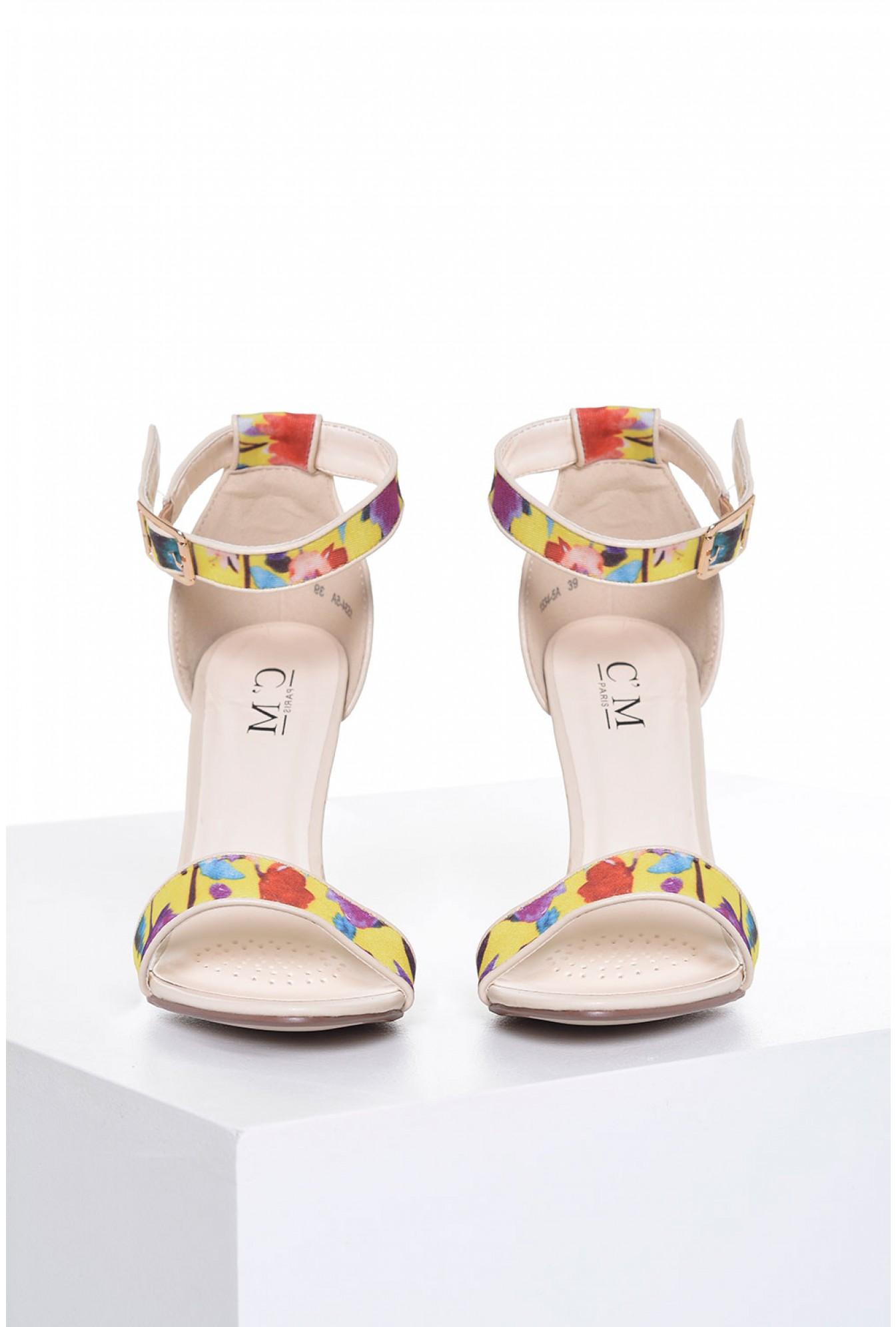 3b7599432cf C M Paris Alanis Floral Block Heel Sandal in in Beige