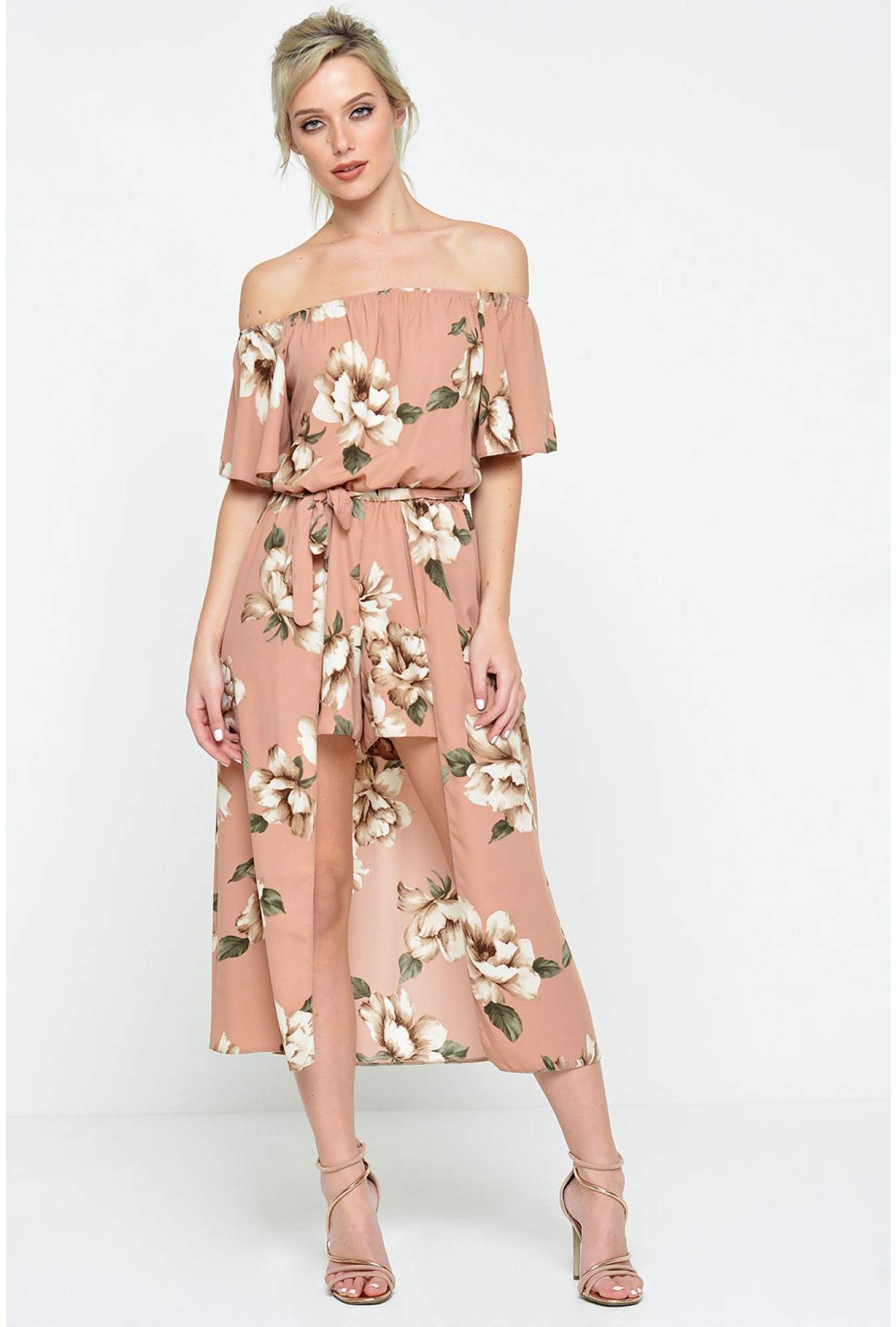 31b533dc3e6 More Views. Lydia High Low Playsuit in Natural Floral. John Zack