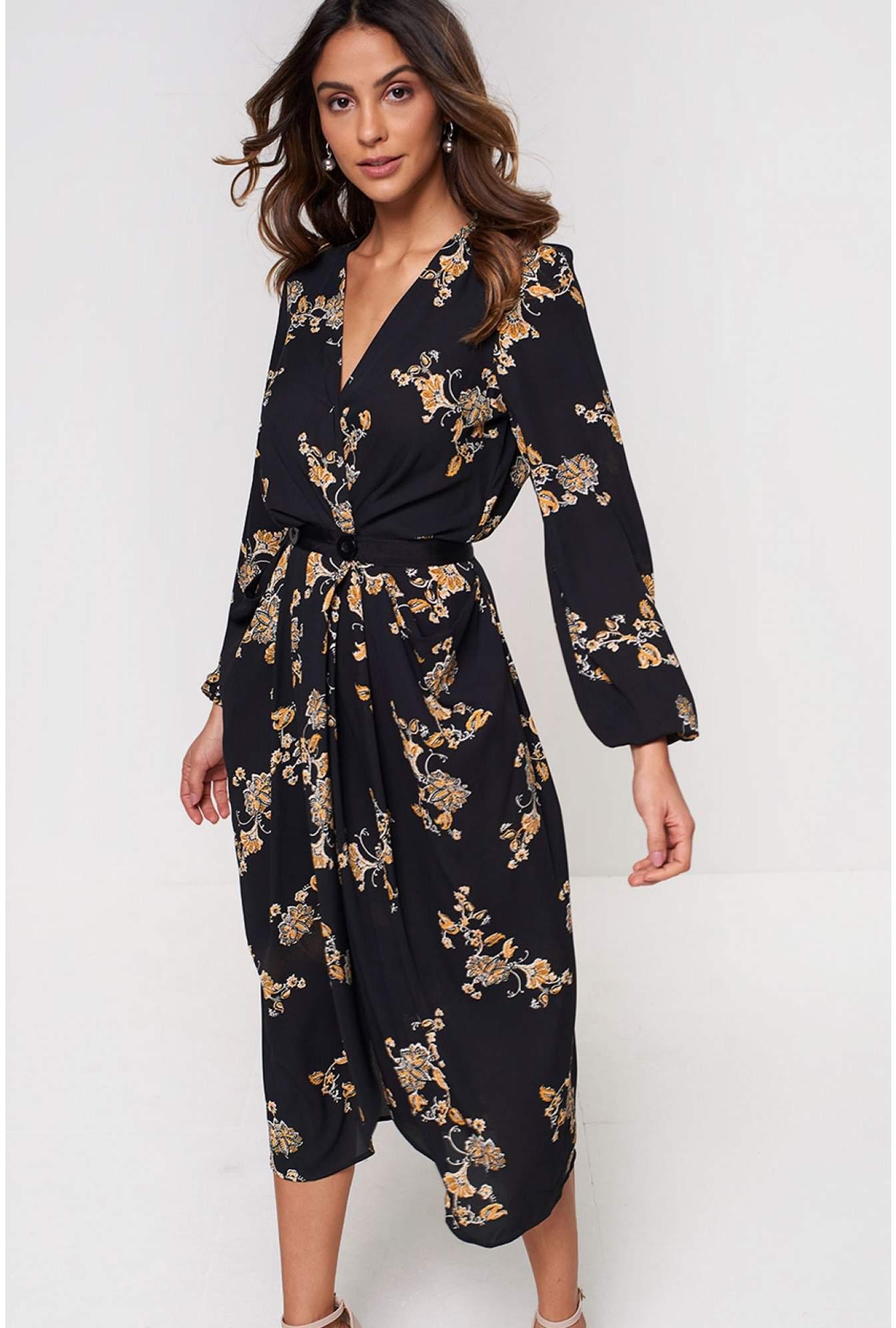 df9022da YAS Marilla Long Sleeve Printed Midi Dress in Black | iCLOTHING