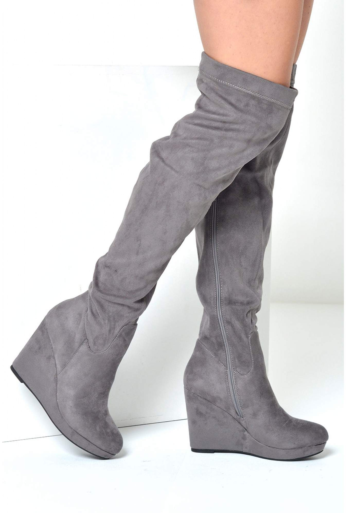 36fb69f9d C'M Paris Loraina Wedge Over The Knee Boots in Grey Suede | iCLOTHING