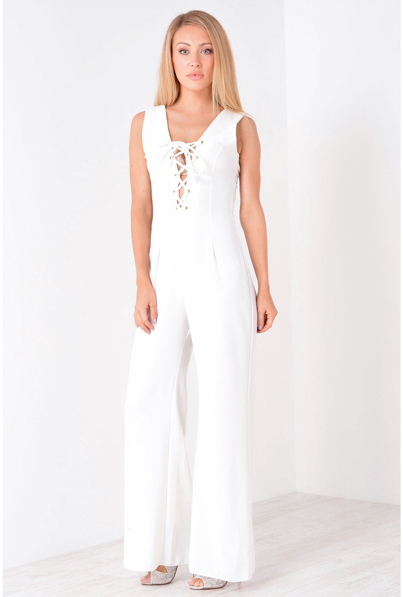 7b37554c37eb More Views. Poppy Lace up Jumpsuit in Cream