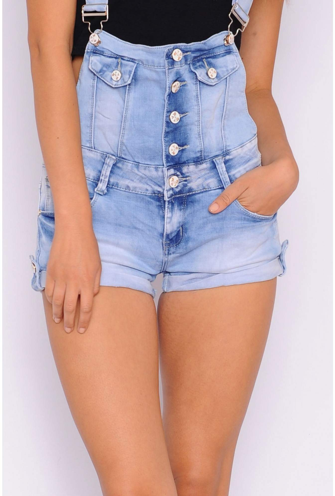 bcee8a4c76 More Views. Leslie Denim Dungaree Playsuit