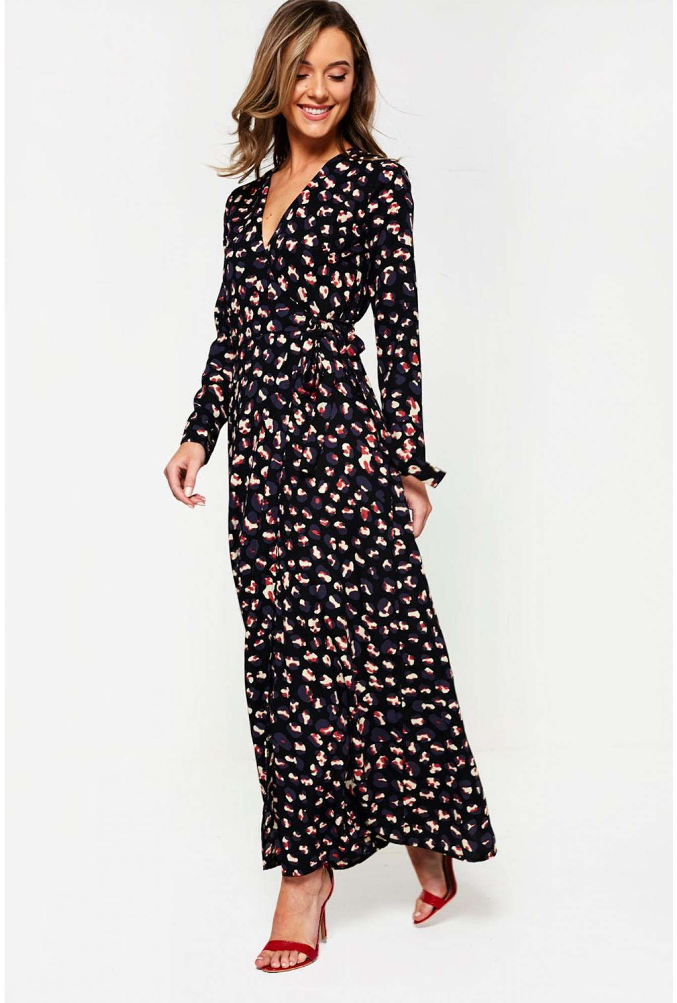 9b3a4461 More Views. Animal Print Maxi Wrap Dress ...