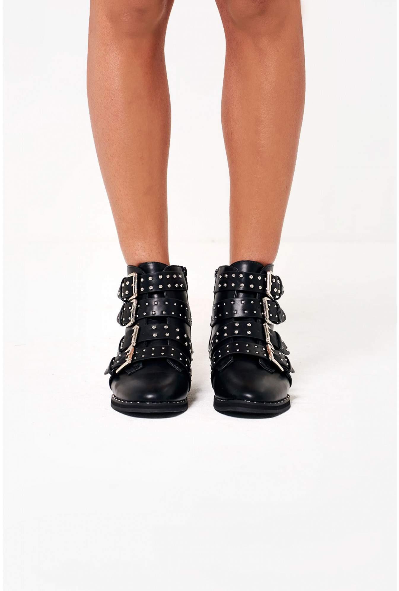 magasin en ligne c6c3c 70492 Marina Biker Boots with Stud Detail in Black