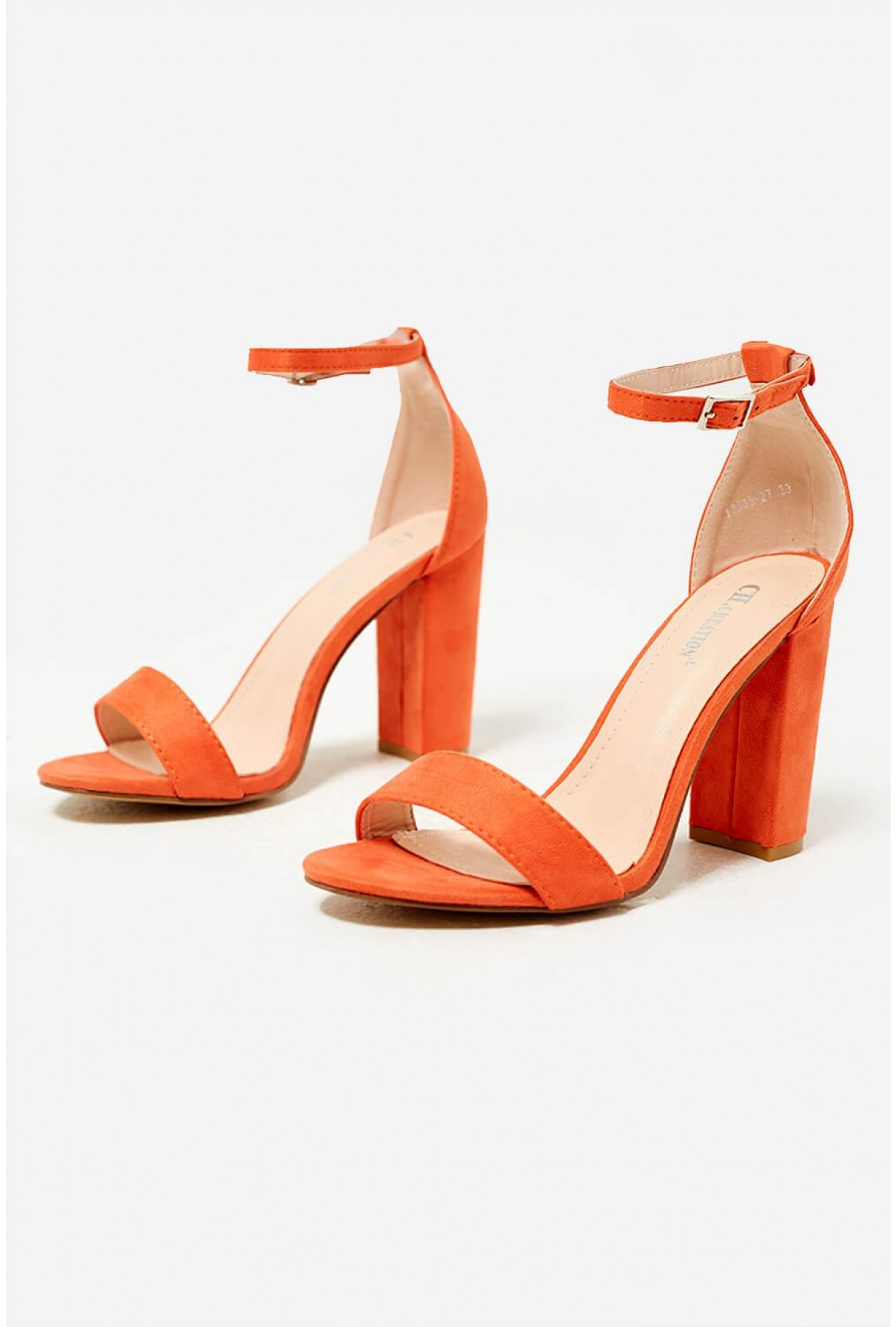 3d42ad4a913 More Views. Elena Block Heel Sandals in Orange Suede