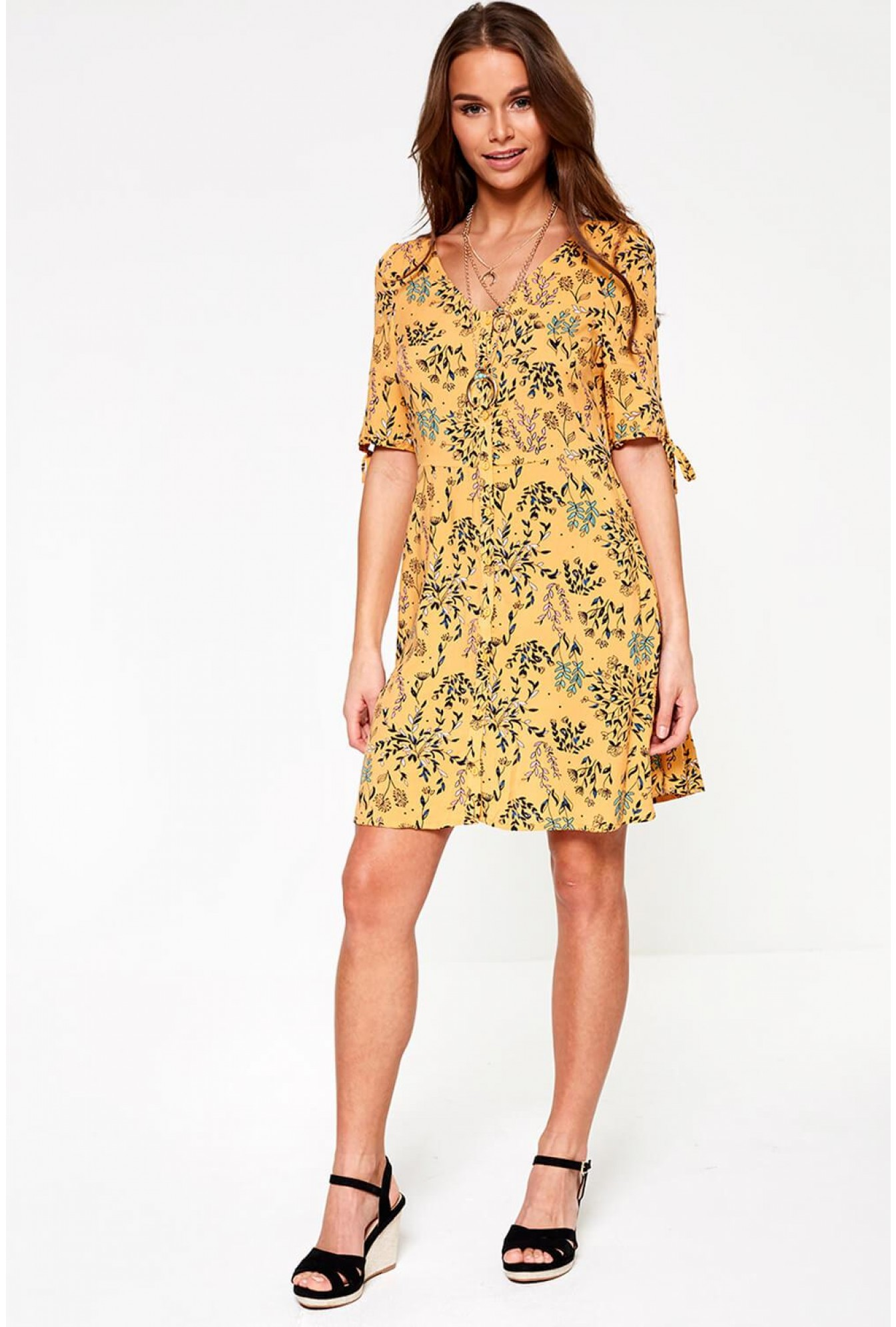 3bd88c2756 More Views. Simply Button Up Midi Dress in Orange Floral Print. Video  Gallery. Vero Moda