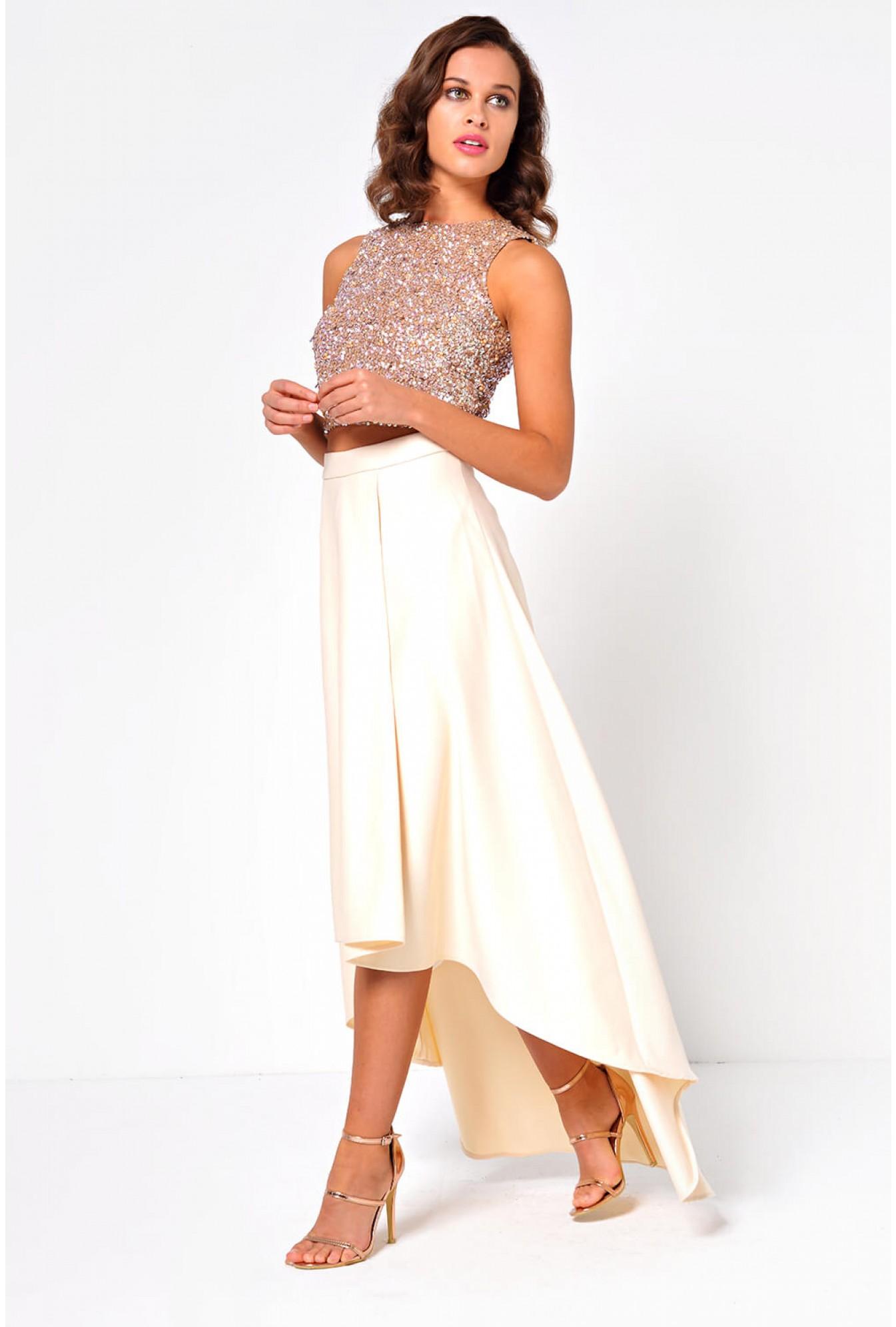 0d580840f79e3f Soho Market Celine Satin High Low Skirt in Beige