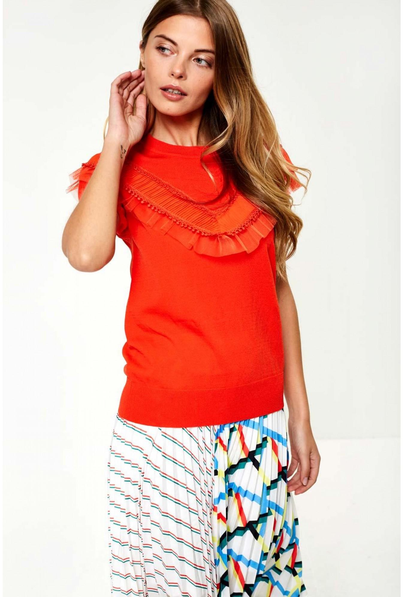 58f9de9e6ea8b More Views. Francesca Cold Shoulder Knit Top in Orange. Darling