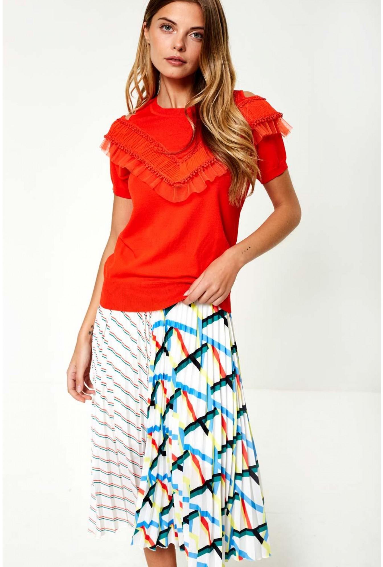 1b6552047fd2c Darling Francesca Cold Shoulder Knit Top in Orange
