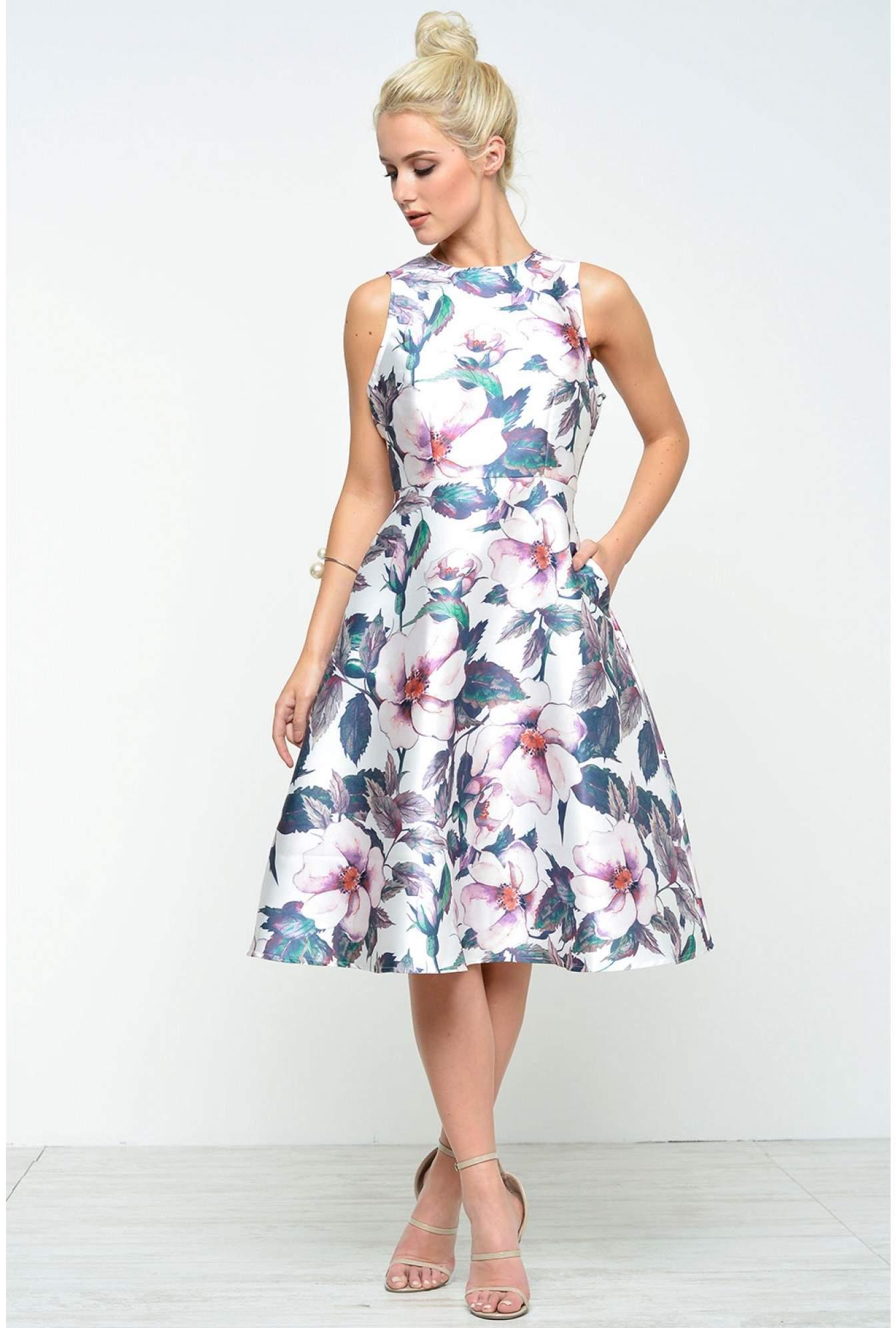 476e5515c1d0c8 Floral Printed Midi Skater Dress Ax Paris