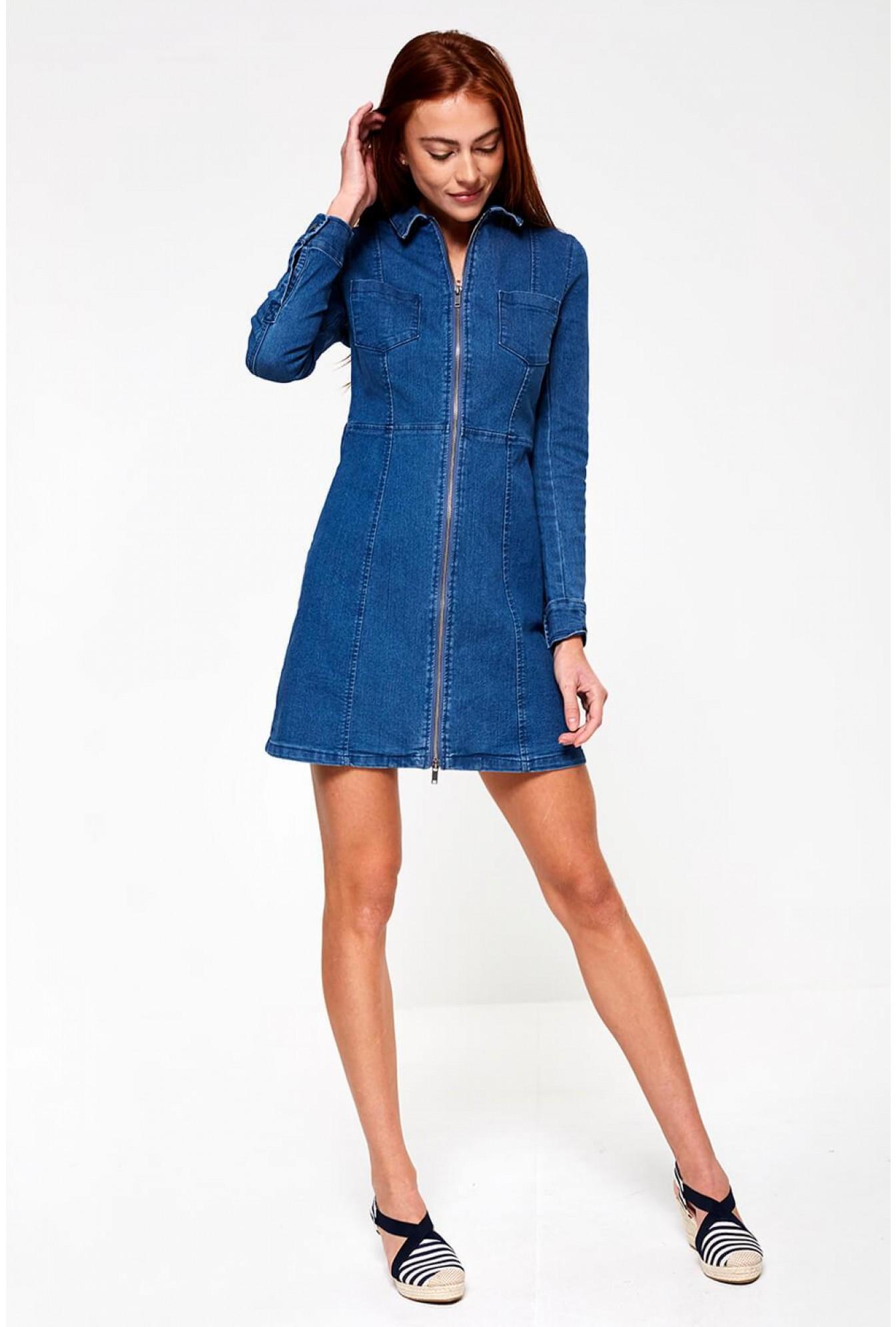 37262abd55 Lisa Denim Dress with Zip Front in Mid Wash Blue
