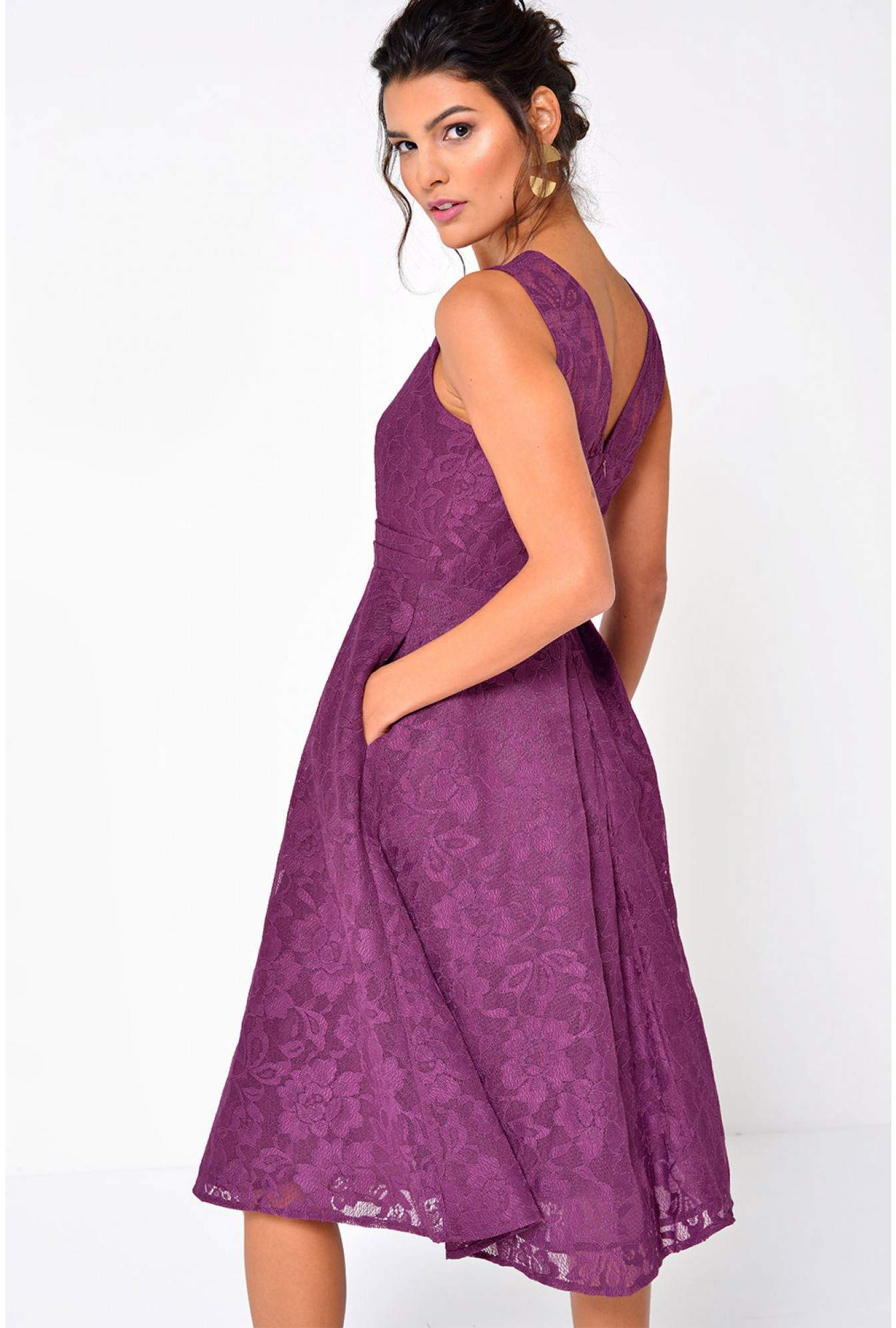 a72c7c3be7 Jolie Moi Karlie Lace Skater Dress in Berry | iCLOTHING