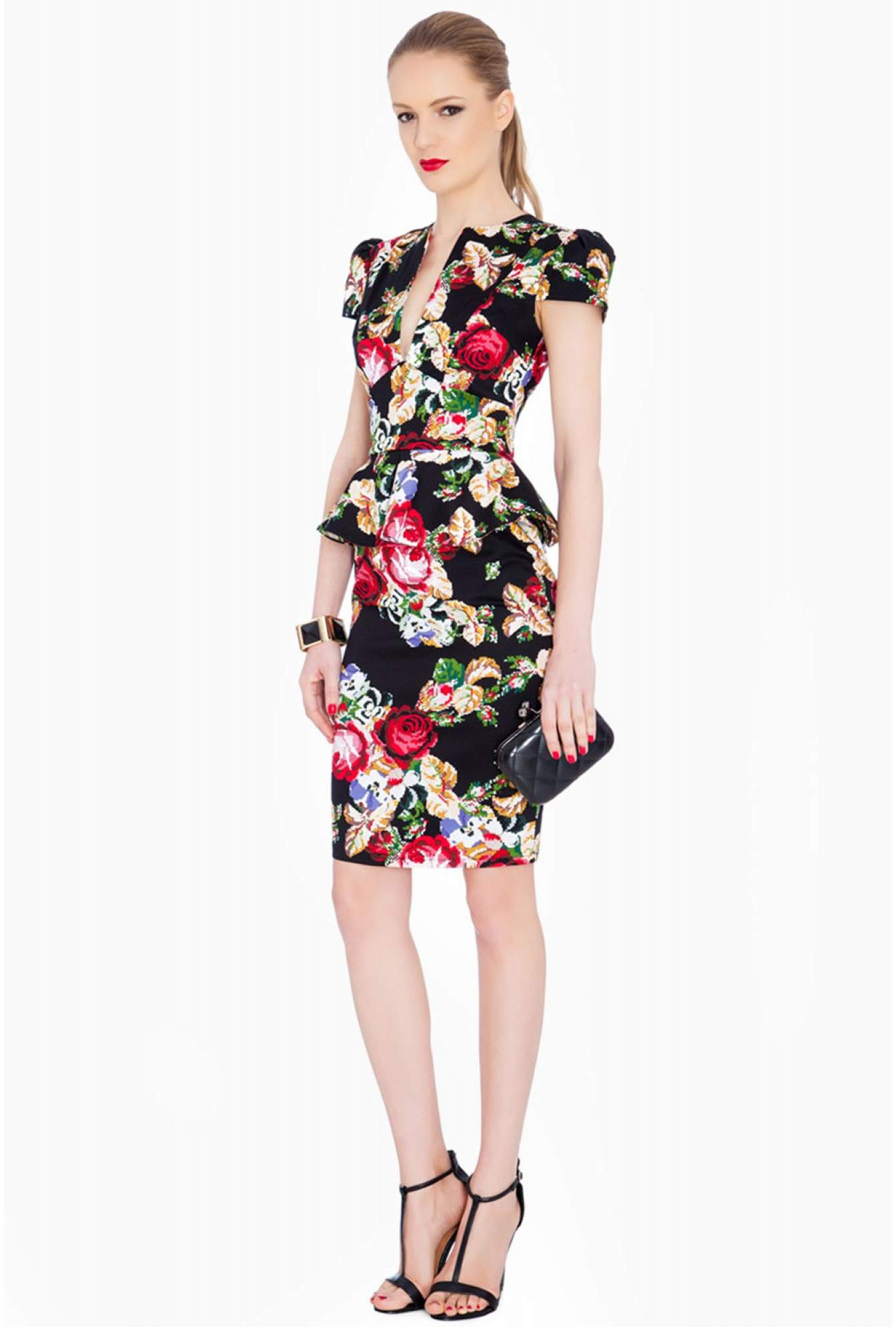 7b5bb56faf More Views. Cheri Floral Deep V Neck Cap Sleeve Peplum Midi Dress in Black