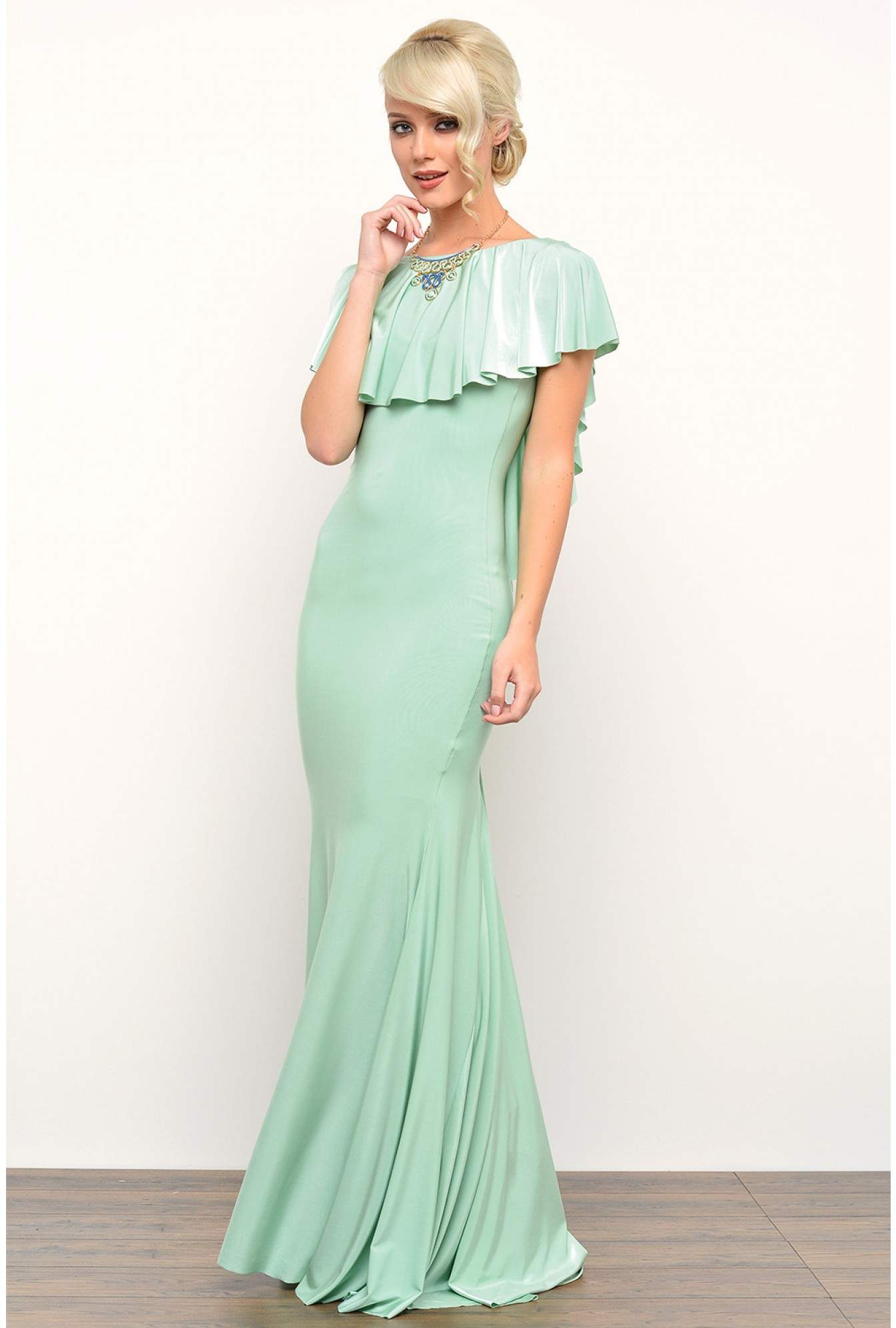 b53bf4d4e1 city goddess Paula Open Back Ruffle Maxi Dress in Mint | iCLOTHING