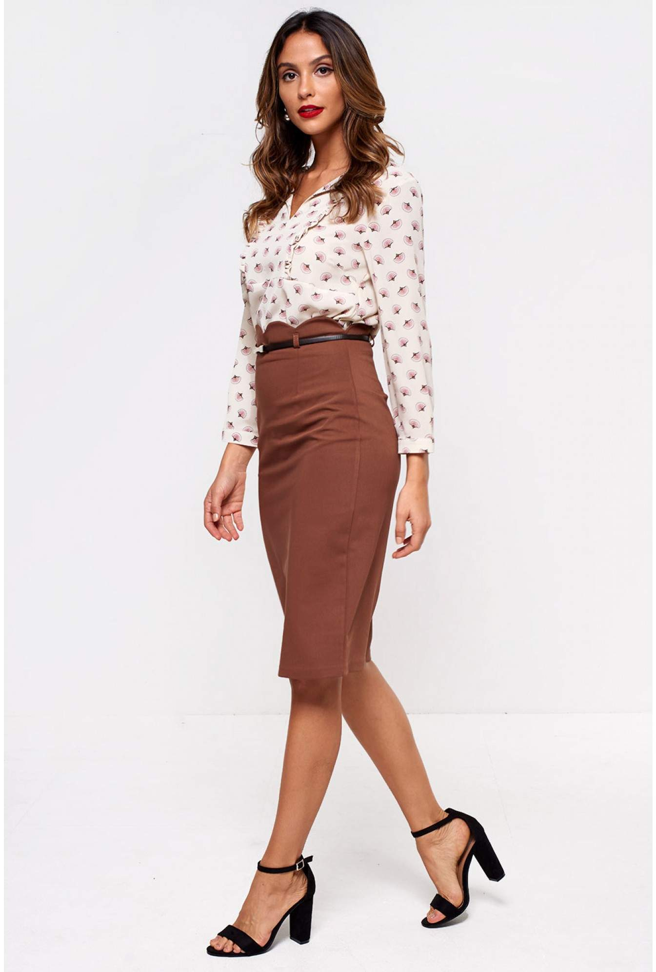 7c4ad250394a Mees Faith Belted Pencil Skirt in Coffee | iCLOTHING