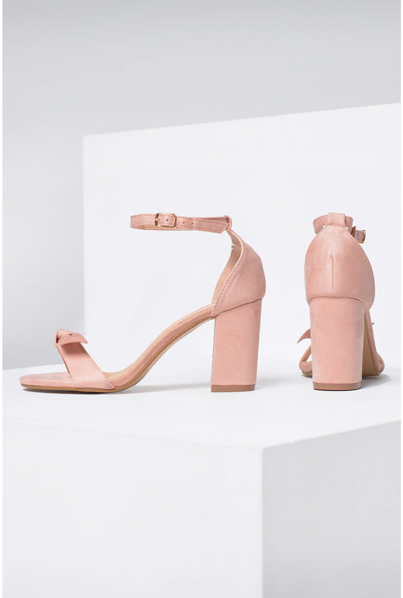 7eb4c6b988 No Doubt Emma Bow Block Heel Sandals in Blush | iCLOTHING