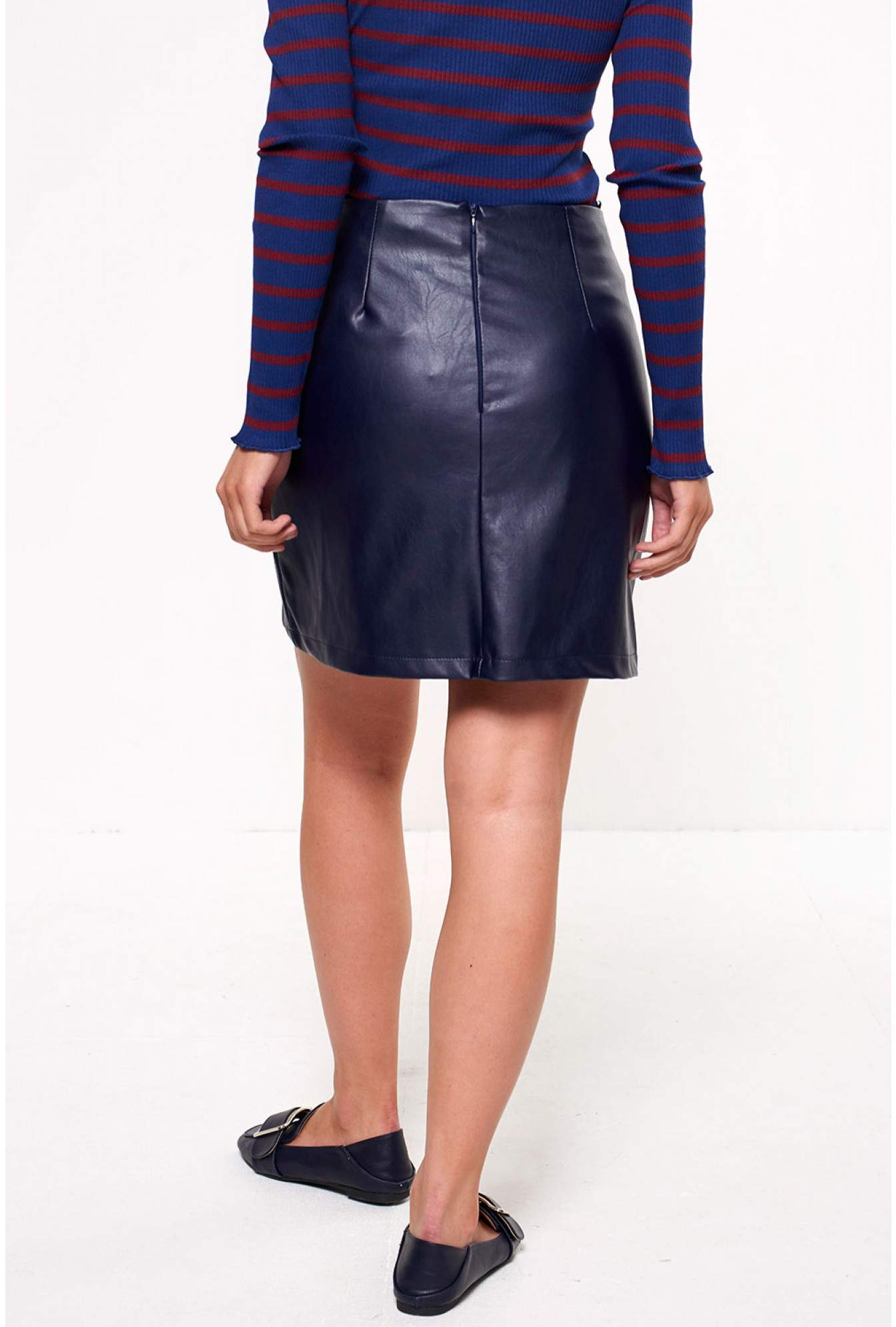 ea97e81bd77be1 More Views. Tess Faux Leather Skirt in Navy. Marc Angelo
