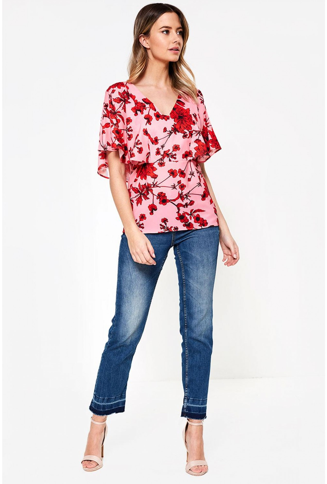 ed409450eb9a08 More Views. Enna Floral Print Top in Pink