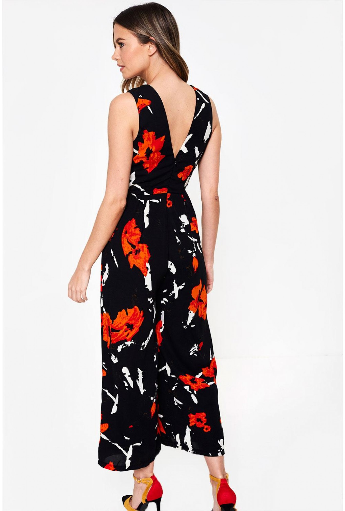 a27cc9ff9d2f More Views. Polly Floral Print V Neck Culotte Jumpsuit in Black