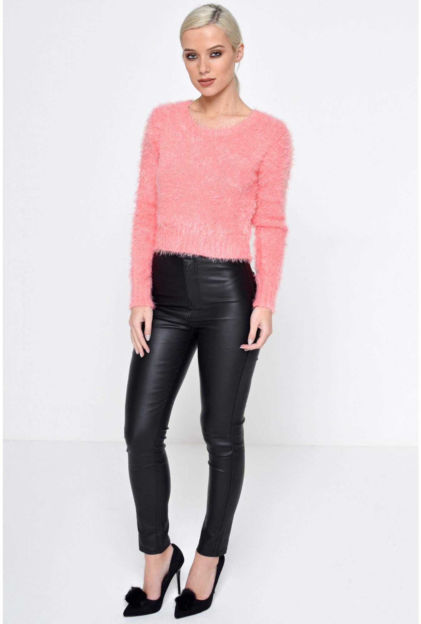9573998289 Denim Club Alexa High Waisted Leather Look Trousers