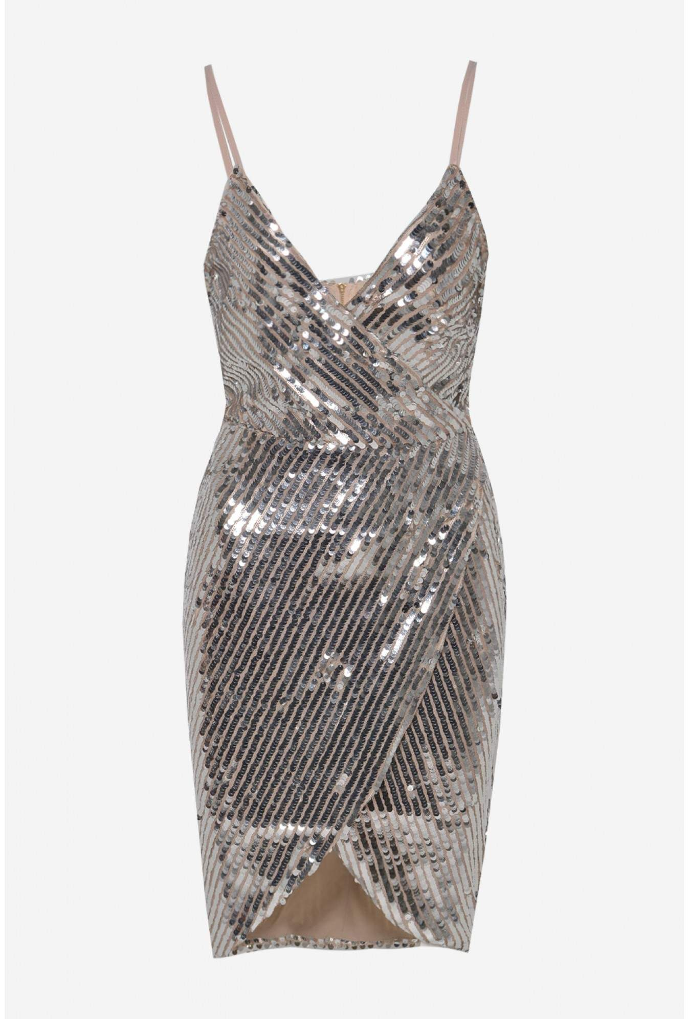 f9be341311 Marc Angelo Grace Bodycon Sequin Dress in Silver
