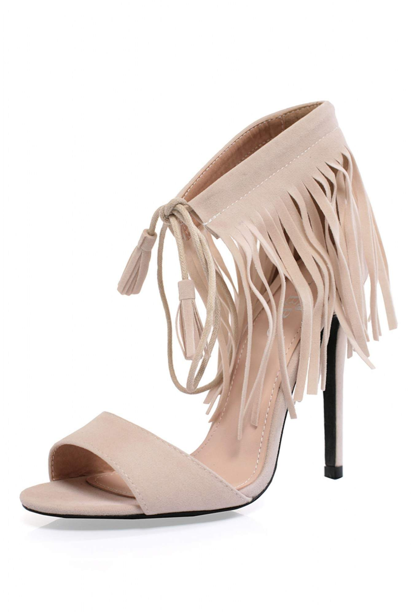 37964e3b5d Indigo Footwear Noella Fringe Heeled Sandals in Beige | iCLOTHING
