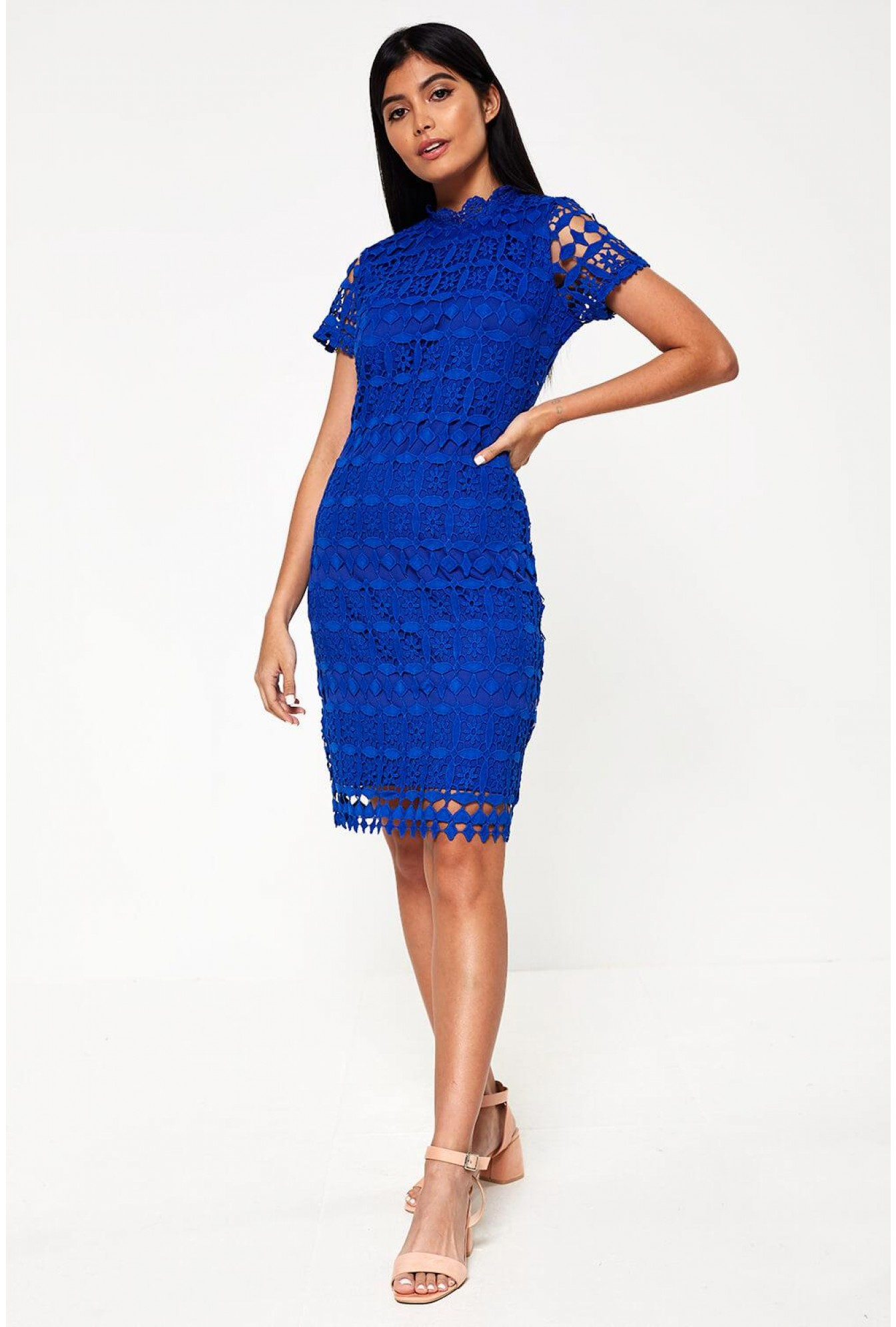 08373e35fce Marc Angelo Bowery High Neck Lace Pencil Dress in Royal Blue
