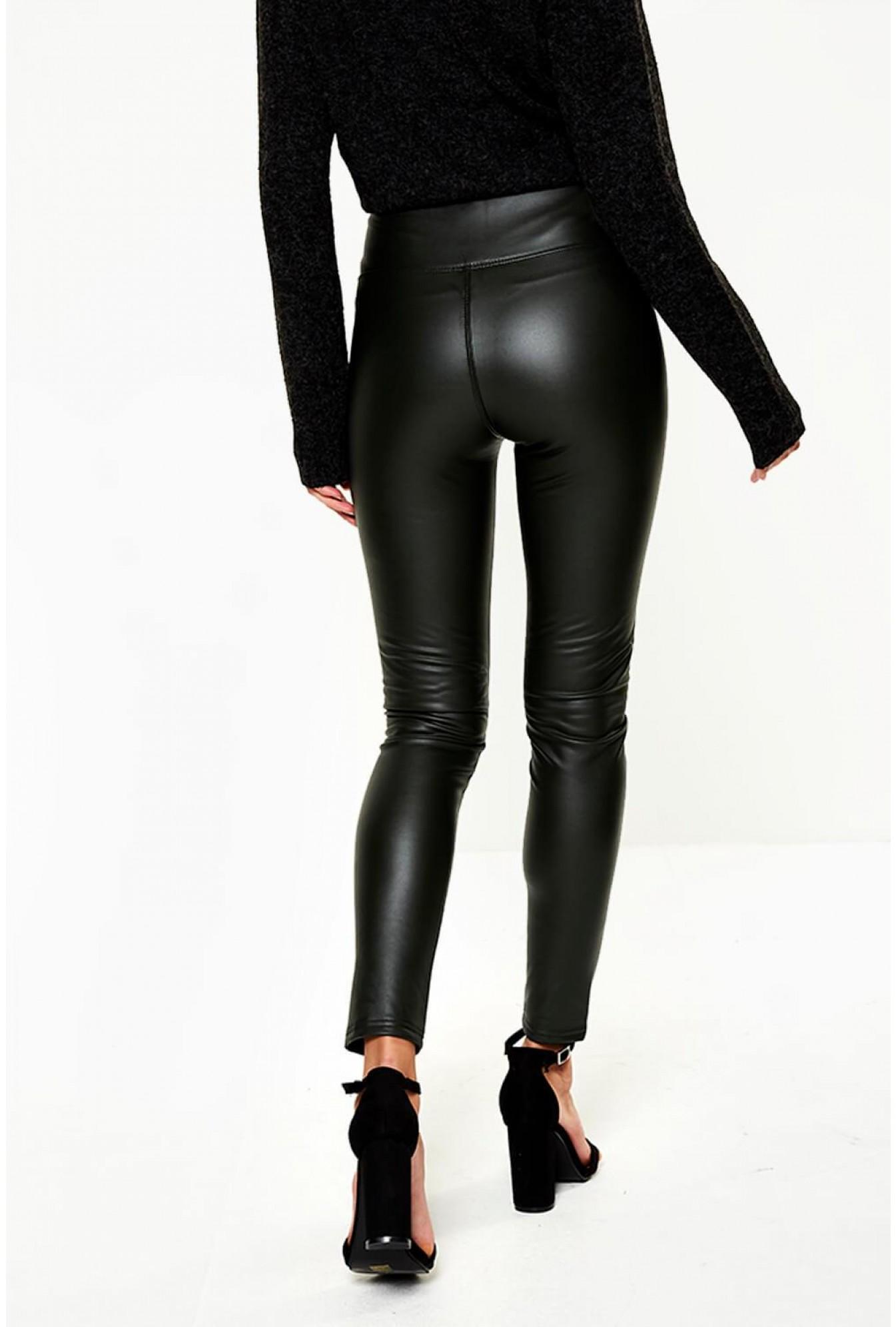 8d62f5b42 Yu Me Hana High Waist Fleece Lined Wet Look Leggings in Olive ...