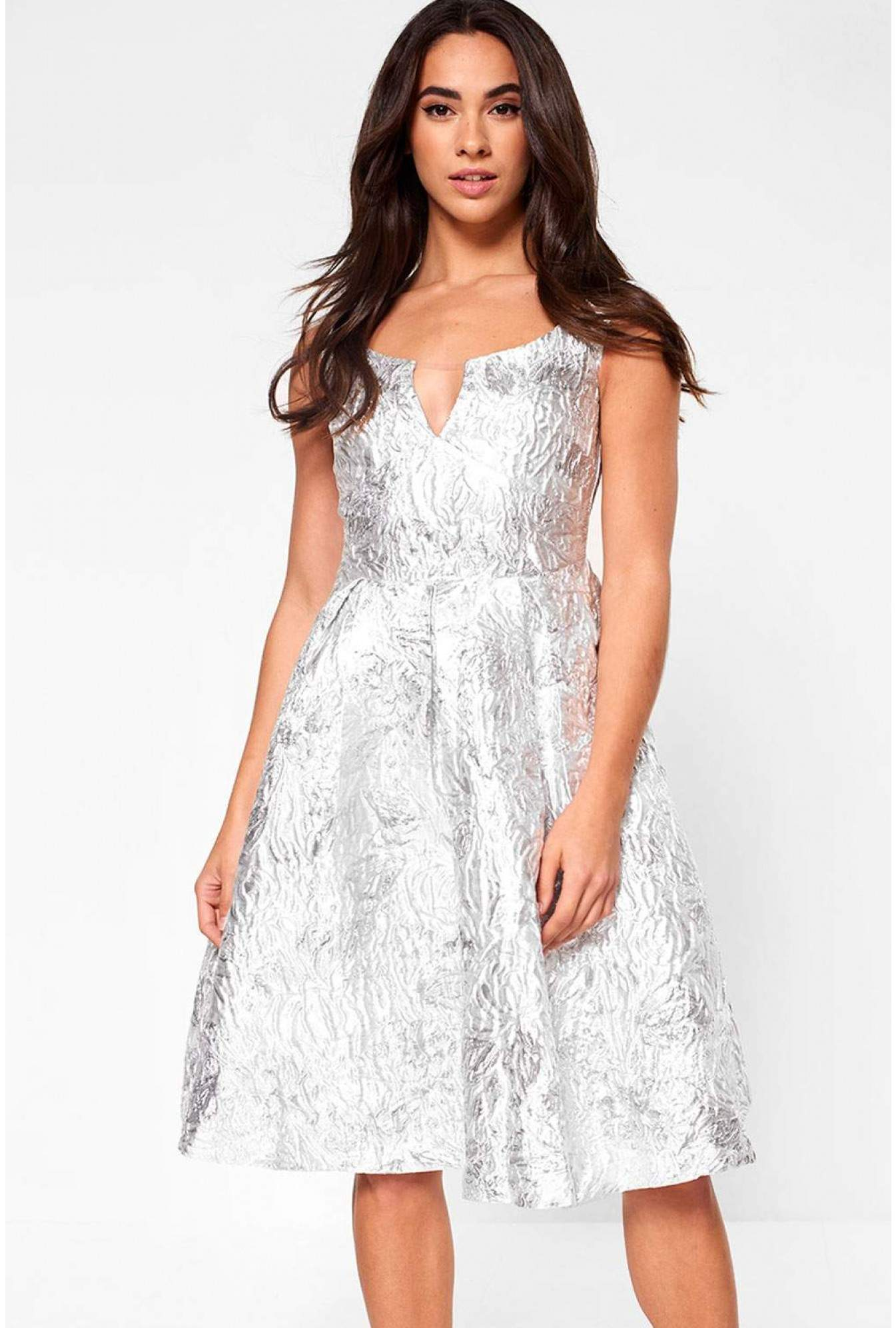 28e0ec53df6e True Decadence Noelle Jacquard Skater Dress in Silver