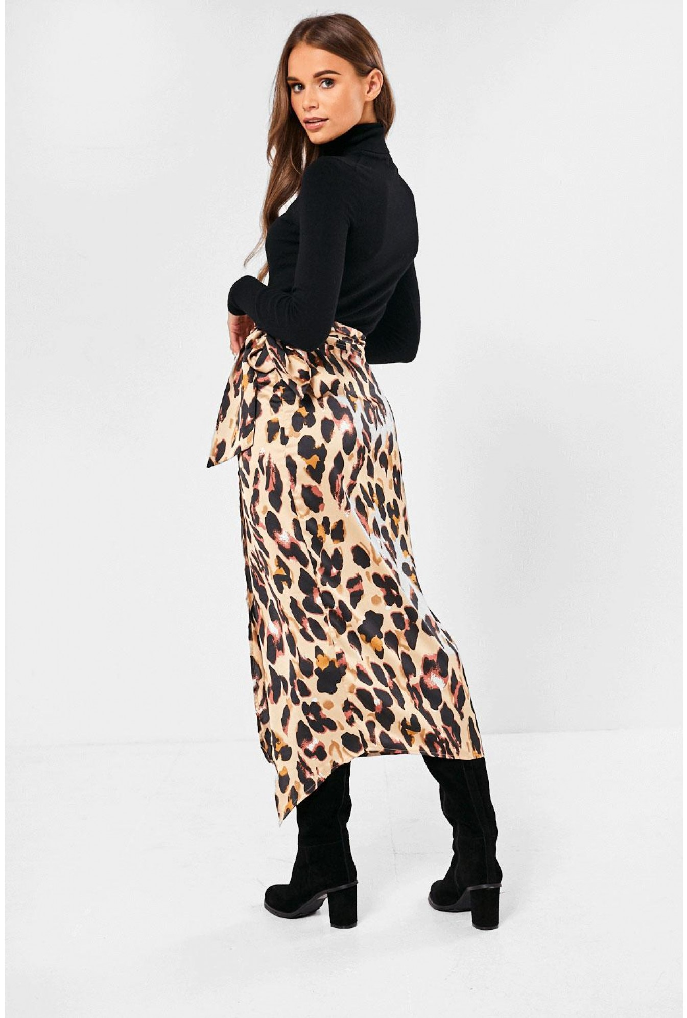 2019 authentic novel style select for clearance Jaxon Leopard Print Wrap Midi Skirt