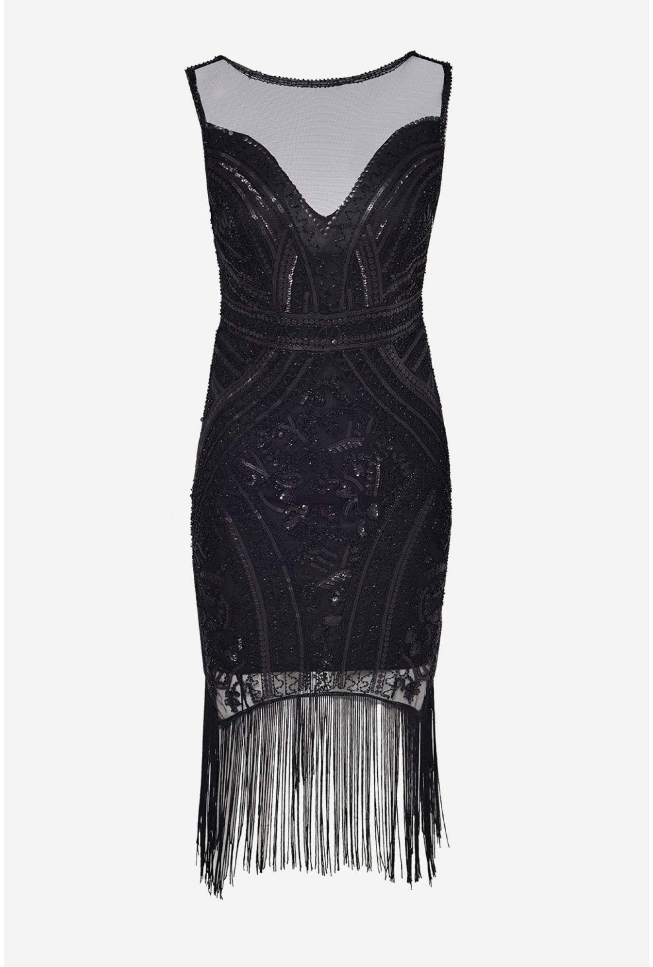 8de7ee1069 More Views. Jean Fringe and Sequin Dress in Black