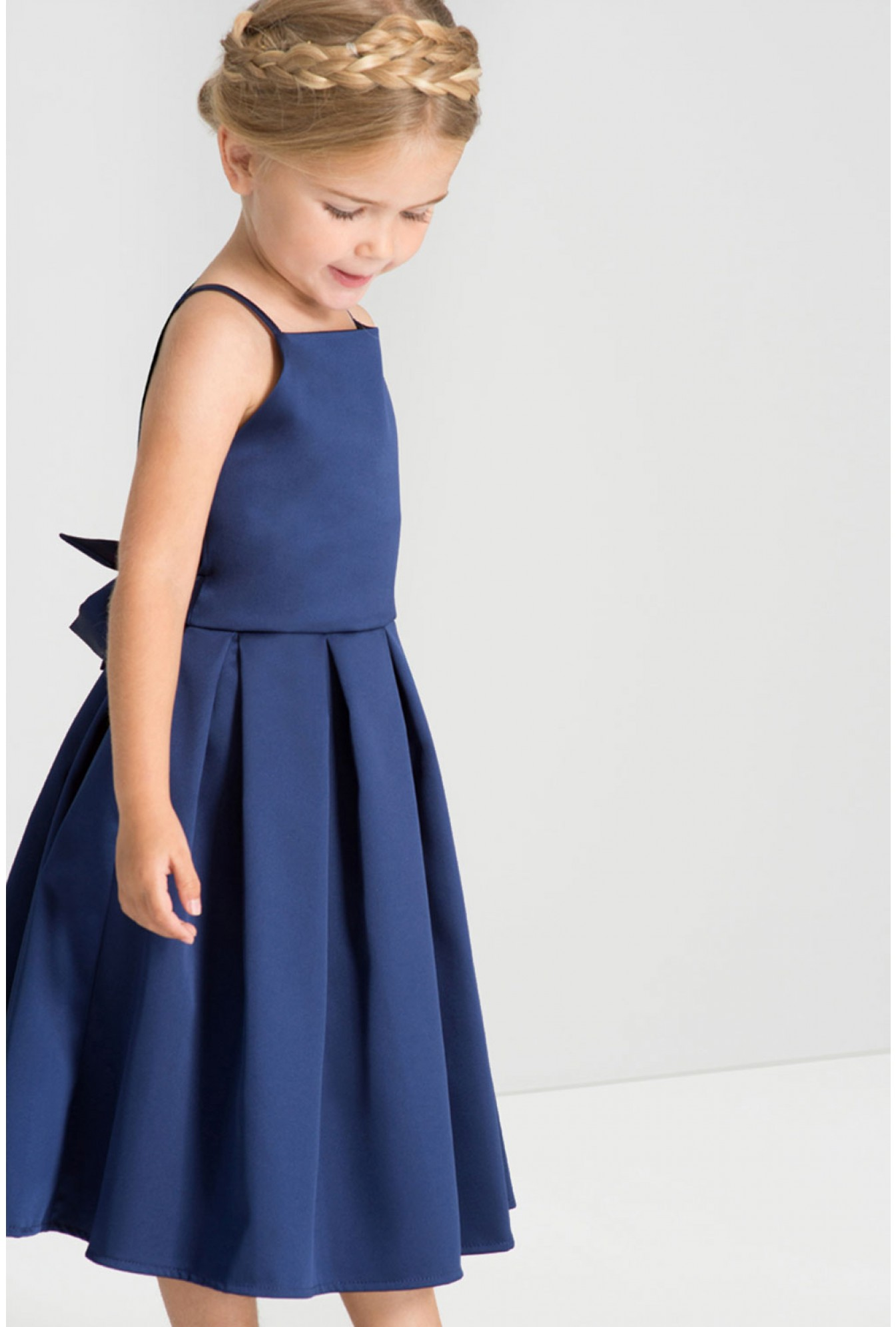 646f7442ef0f1 Chi Chi Abigail Kids Tie-Back Satin Occasion Dress in Navy | iCLOTHING