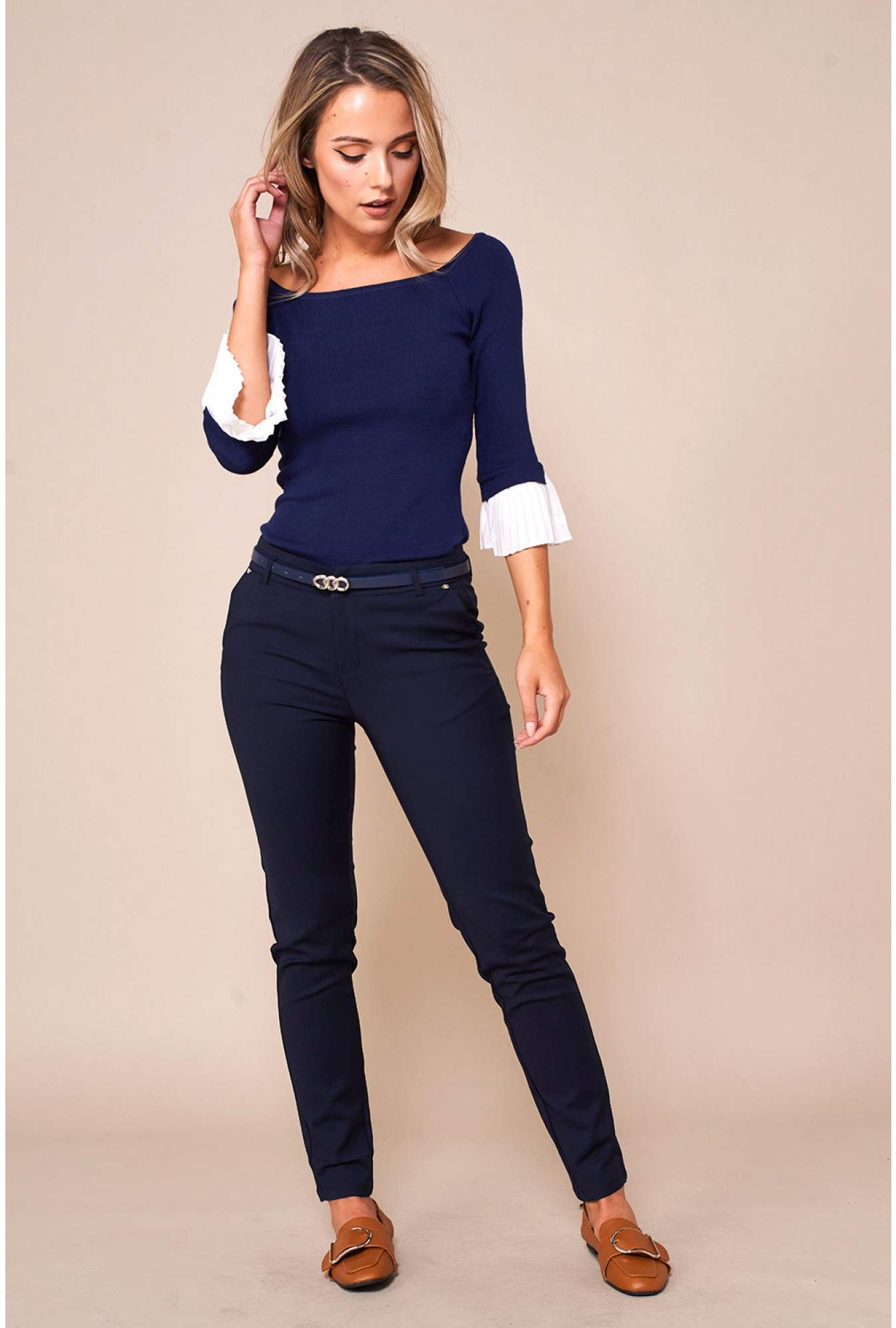 6185971030a7d More Views. Gordon Pleated Sleeve Bardot Top in Navy