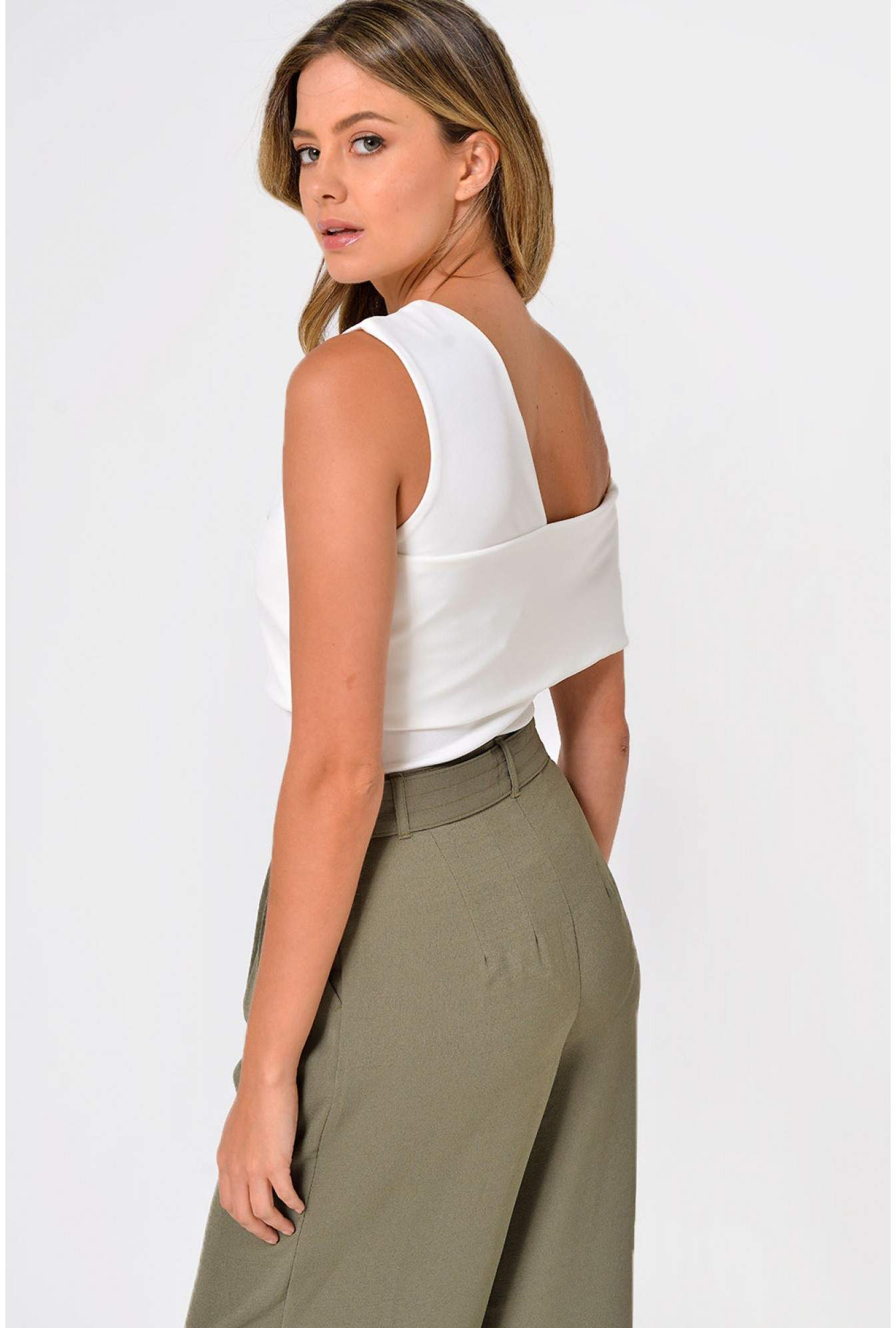 b4f54a9cab8 Lavish Alice Lavish Alice Asymmetric Cold Shoulder Bodysuit in White ...