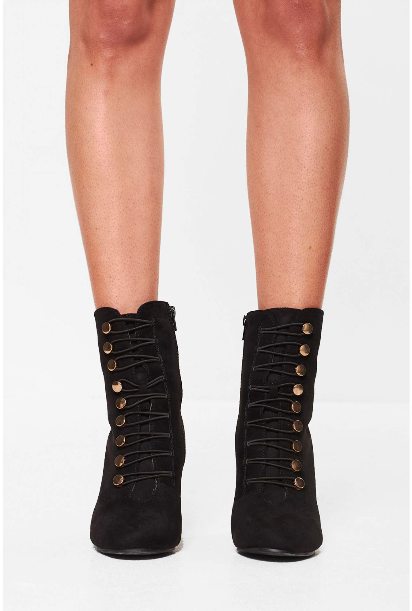 bb73bdcbca48 No Doubt Linda Lace Up Heeled Ankle Boots in Black