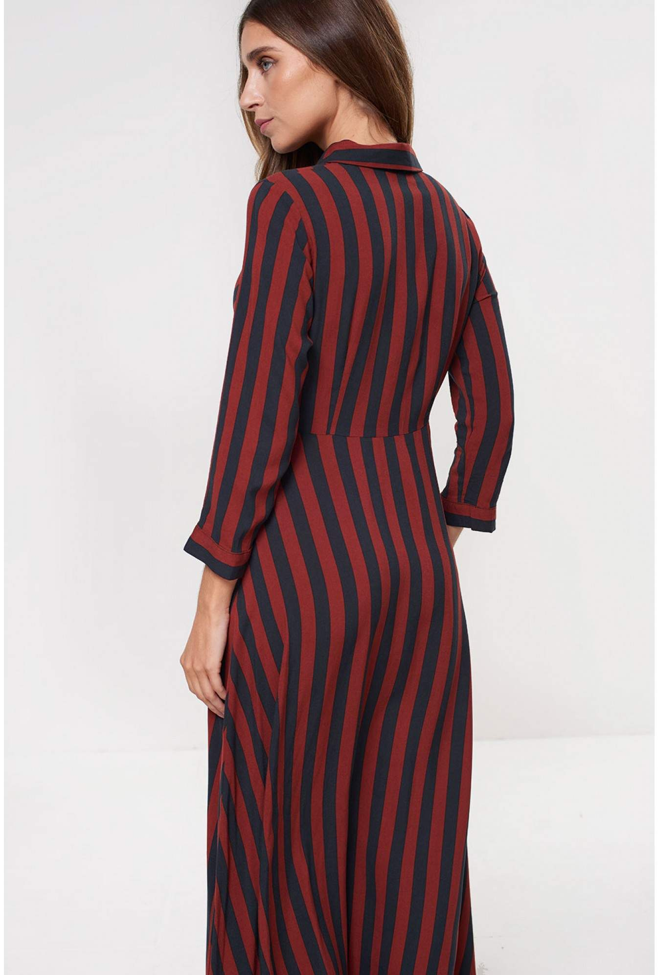 4d98504bac69f2 More Views. Savanna Long Sleeve Shirt Dress in Navy Stripe. YAS