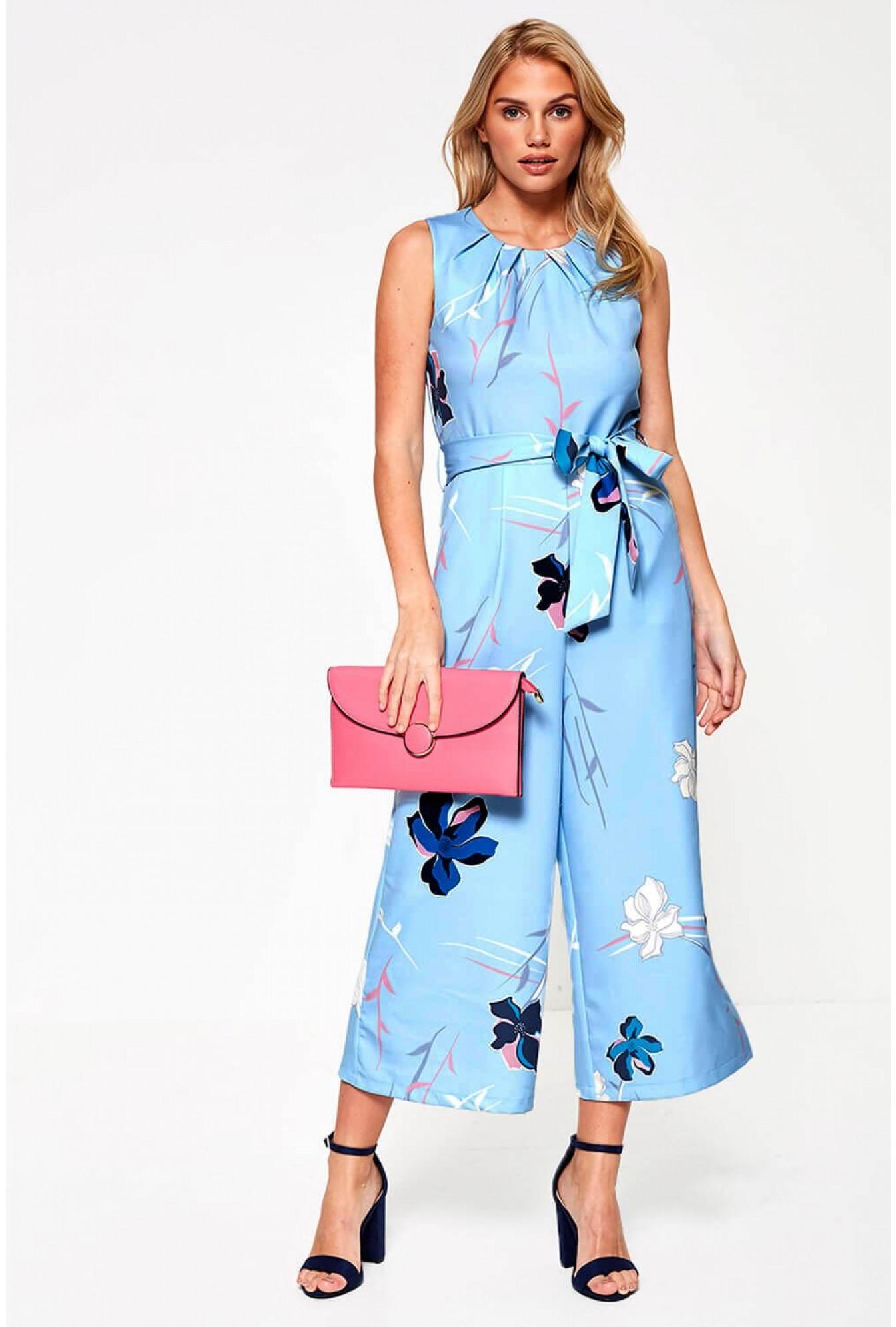 de26ce06329 More Views. Lydia Floral Print Culotte Jumpsuit in Blue