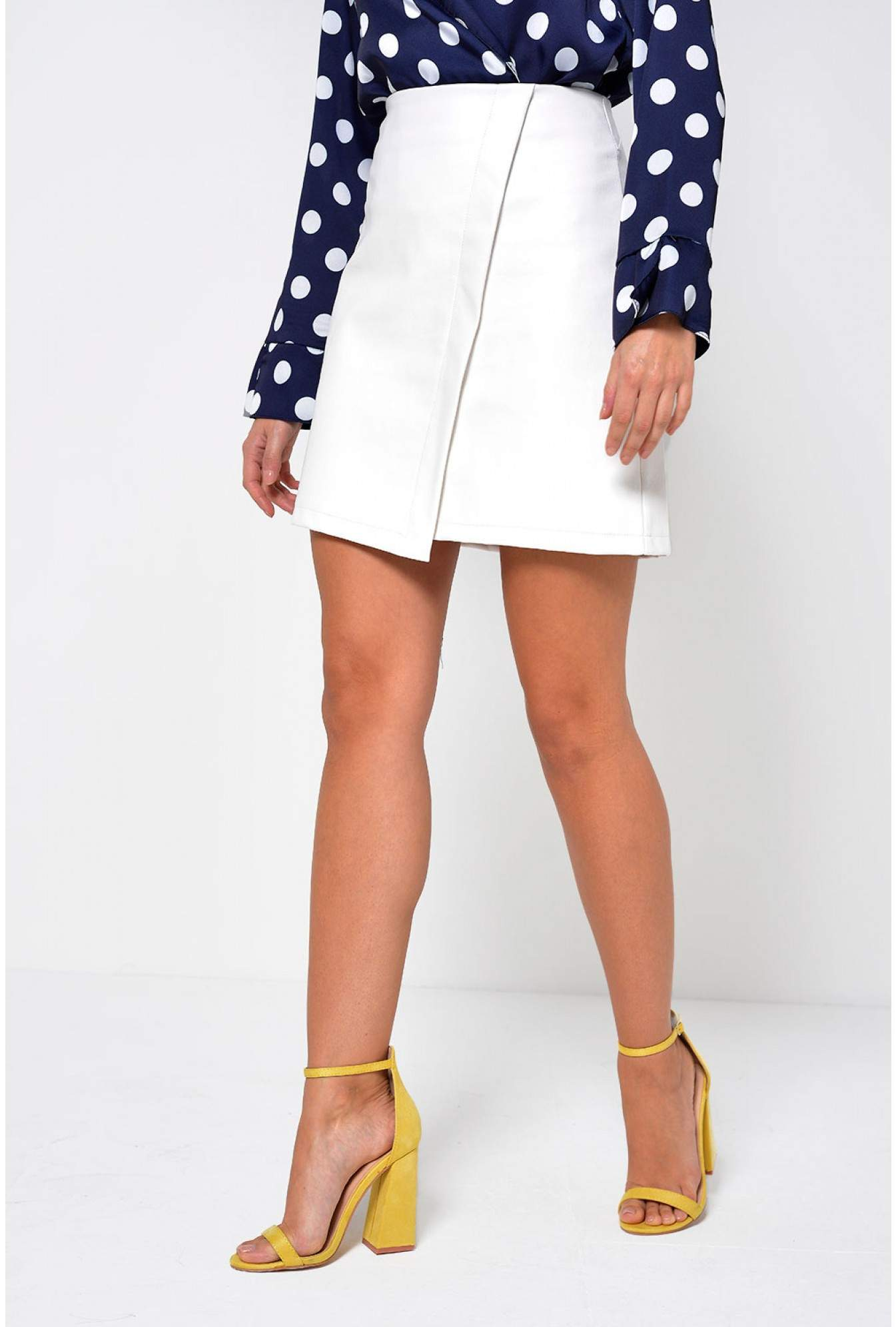 b772bd58b9d837 More Views. Tess Faux Leather Skirt in White. Marc Angelo