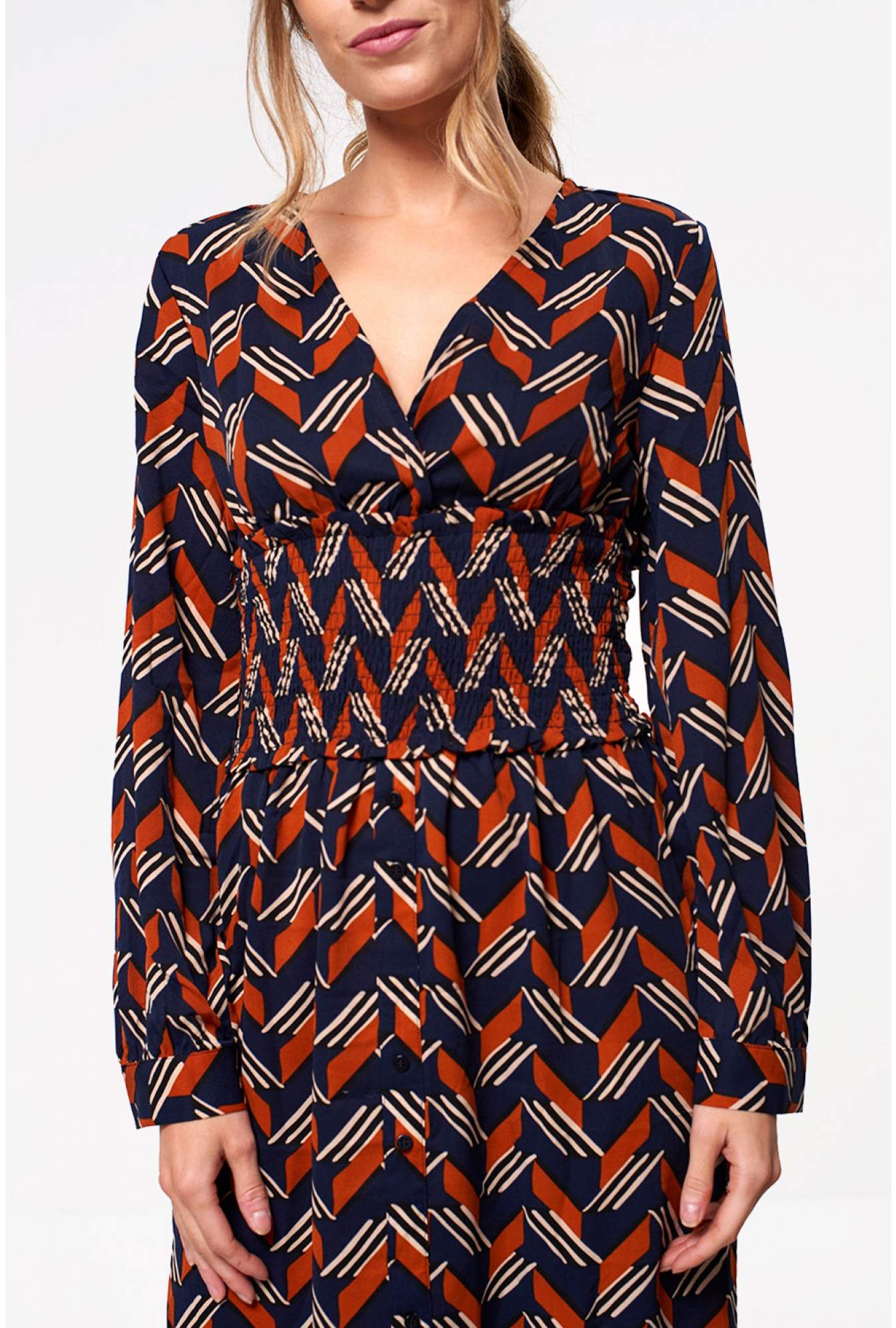 19fa175f23a exquiss Charlie Long Sleeve Maxi Dress in Navy Geometric Print ...