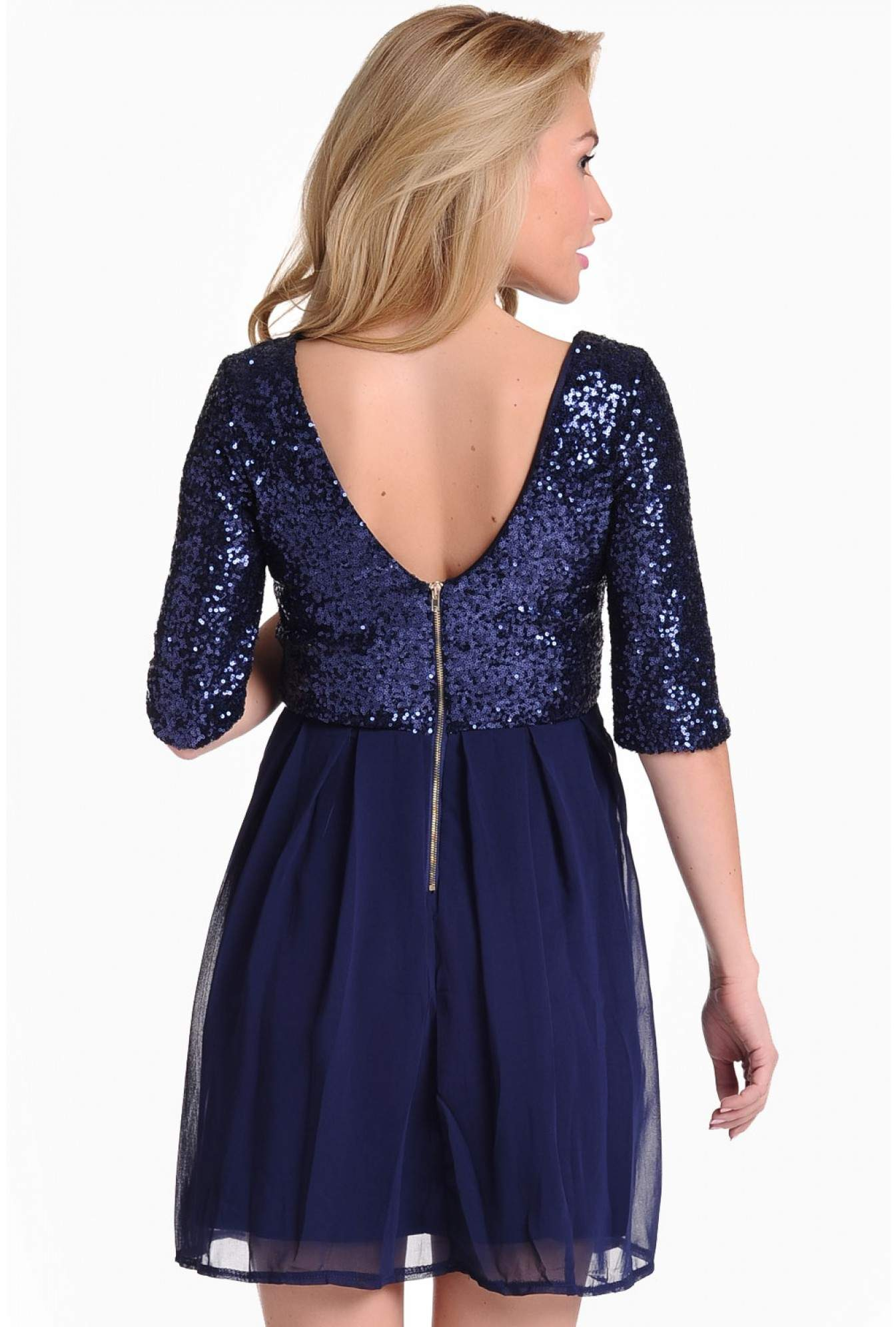 1afae2d51d03 Evita Justine Sequin Skater Dress in Navy | iCLOTHING