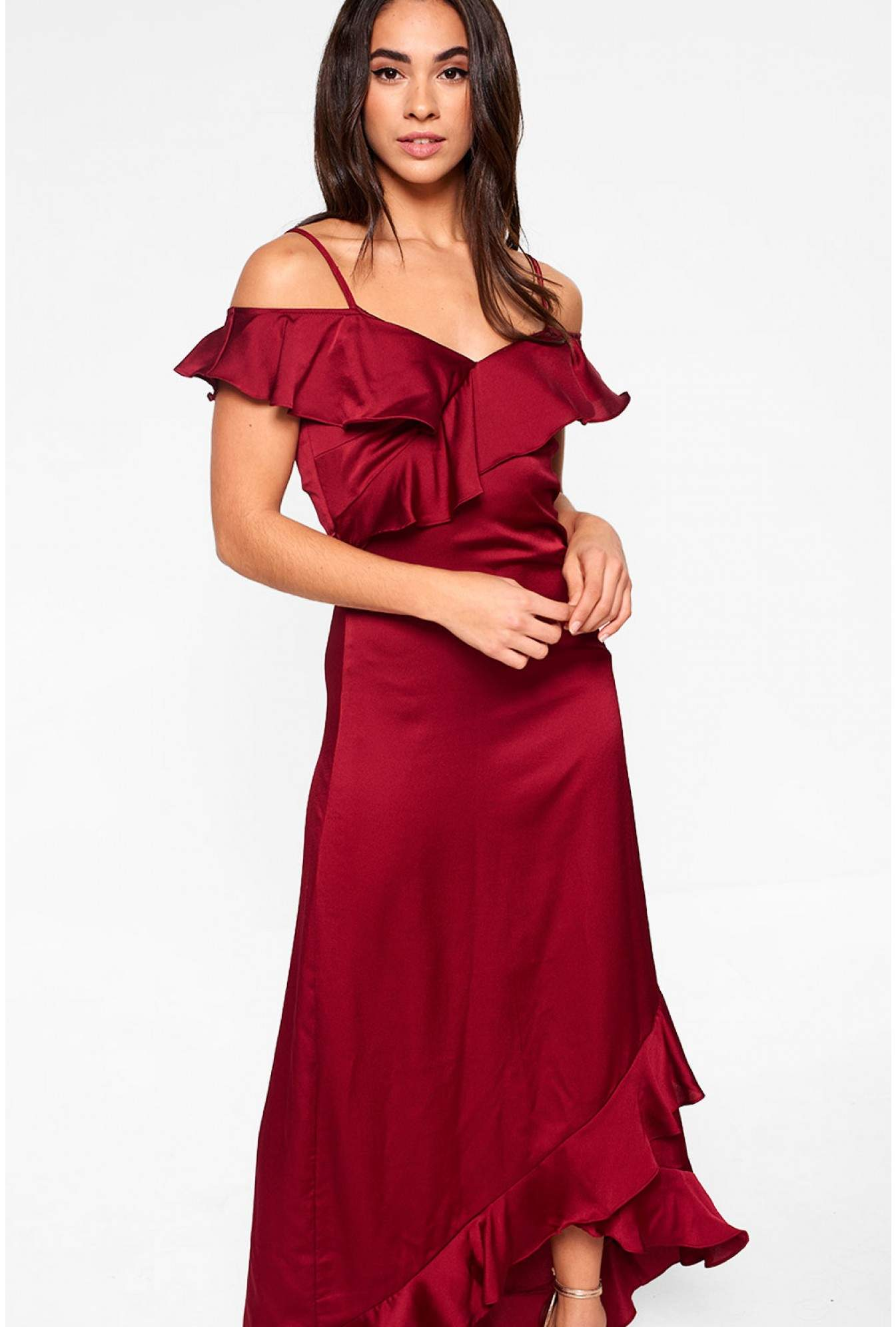 4a32108ce3f9 More Views. Fielle Off Shoulder Frill Maxi Dress in Wine