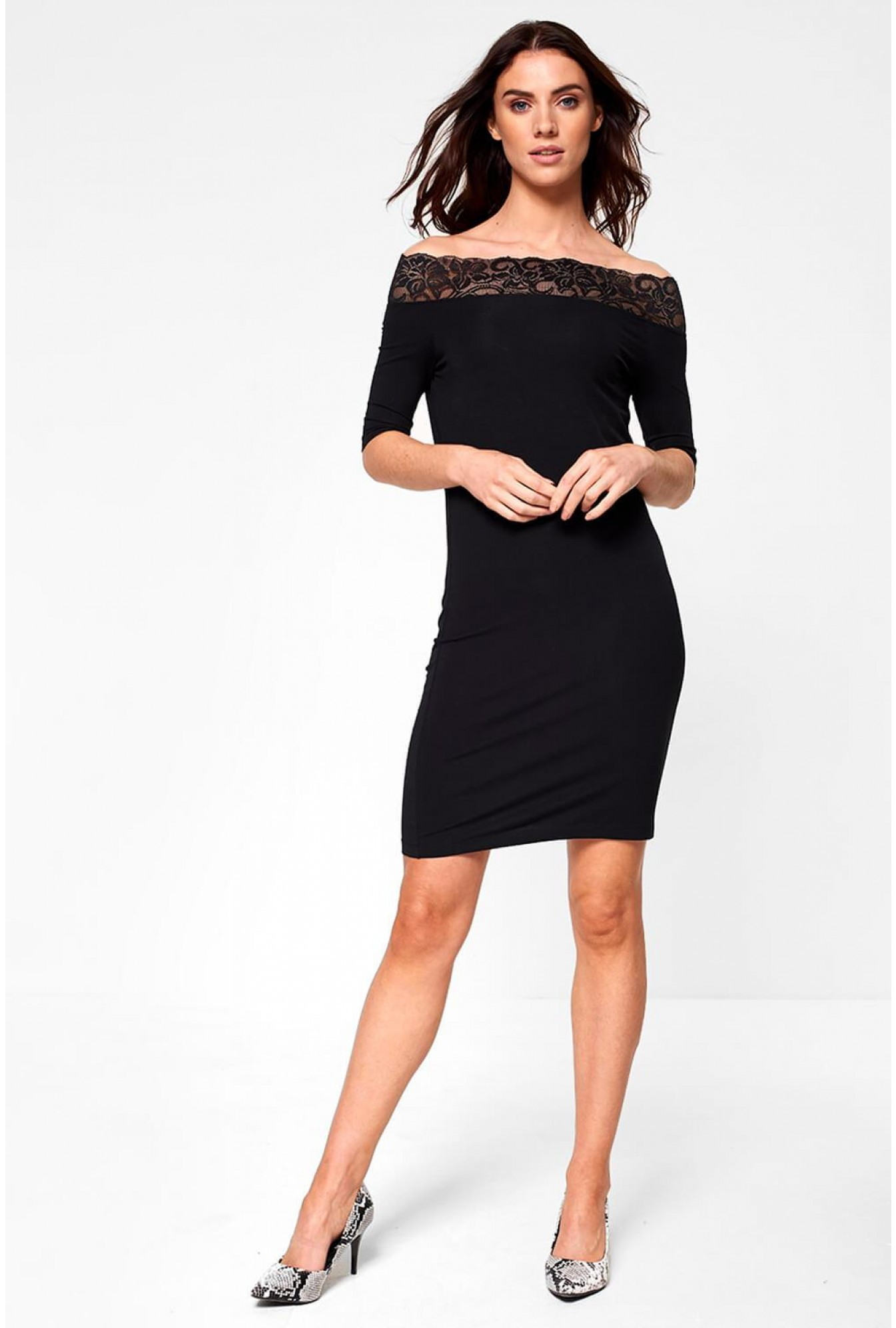b0ba2daefac2 Noisy May Lacy Off Shoulder Short Dress with Lace Insert in Black ...